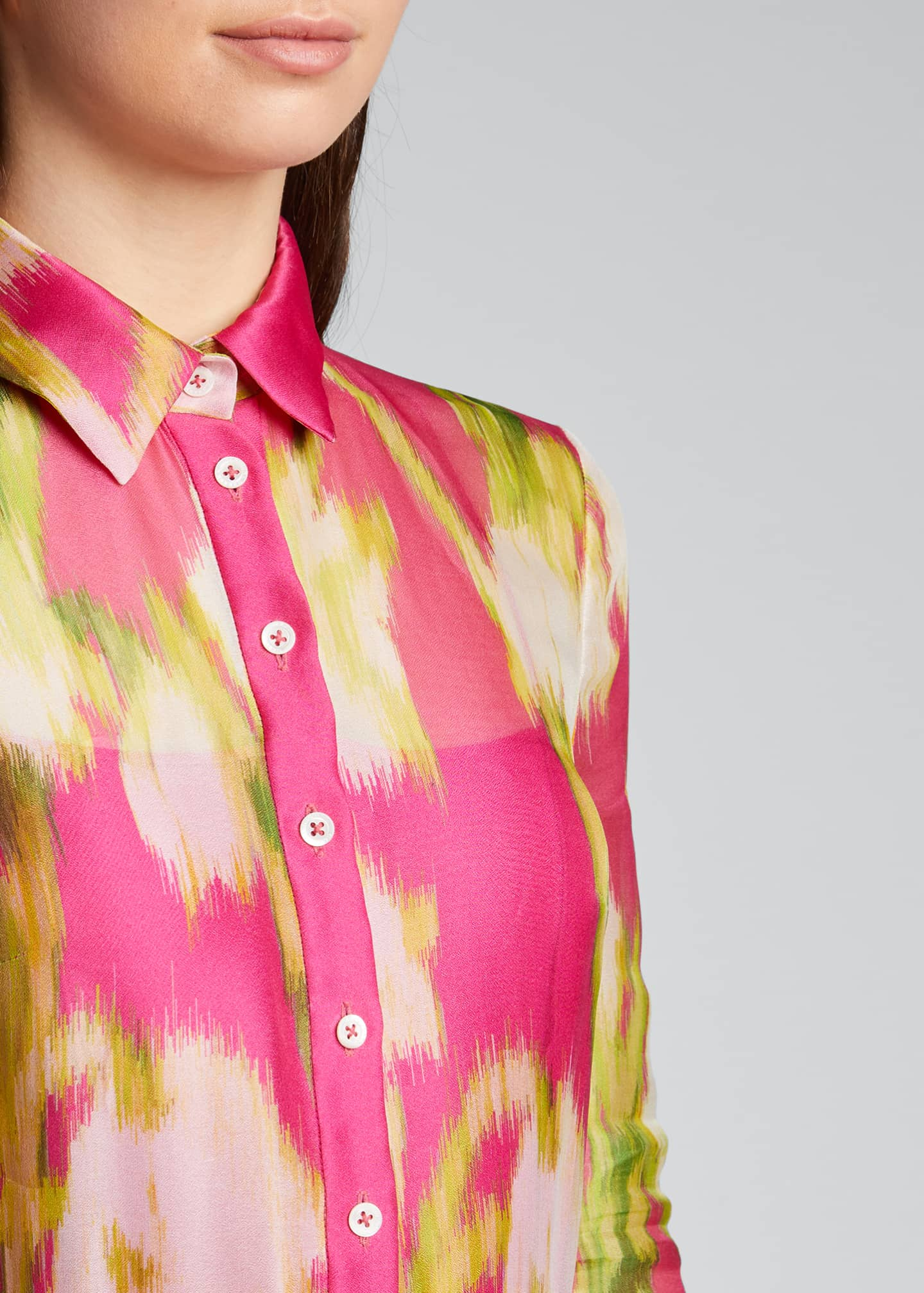 Image 4 of 5: Floral Print Silk Shirtdress
