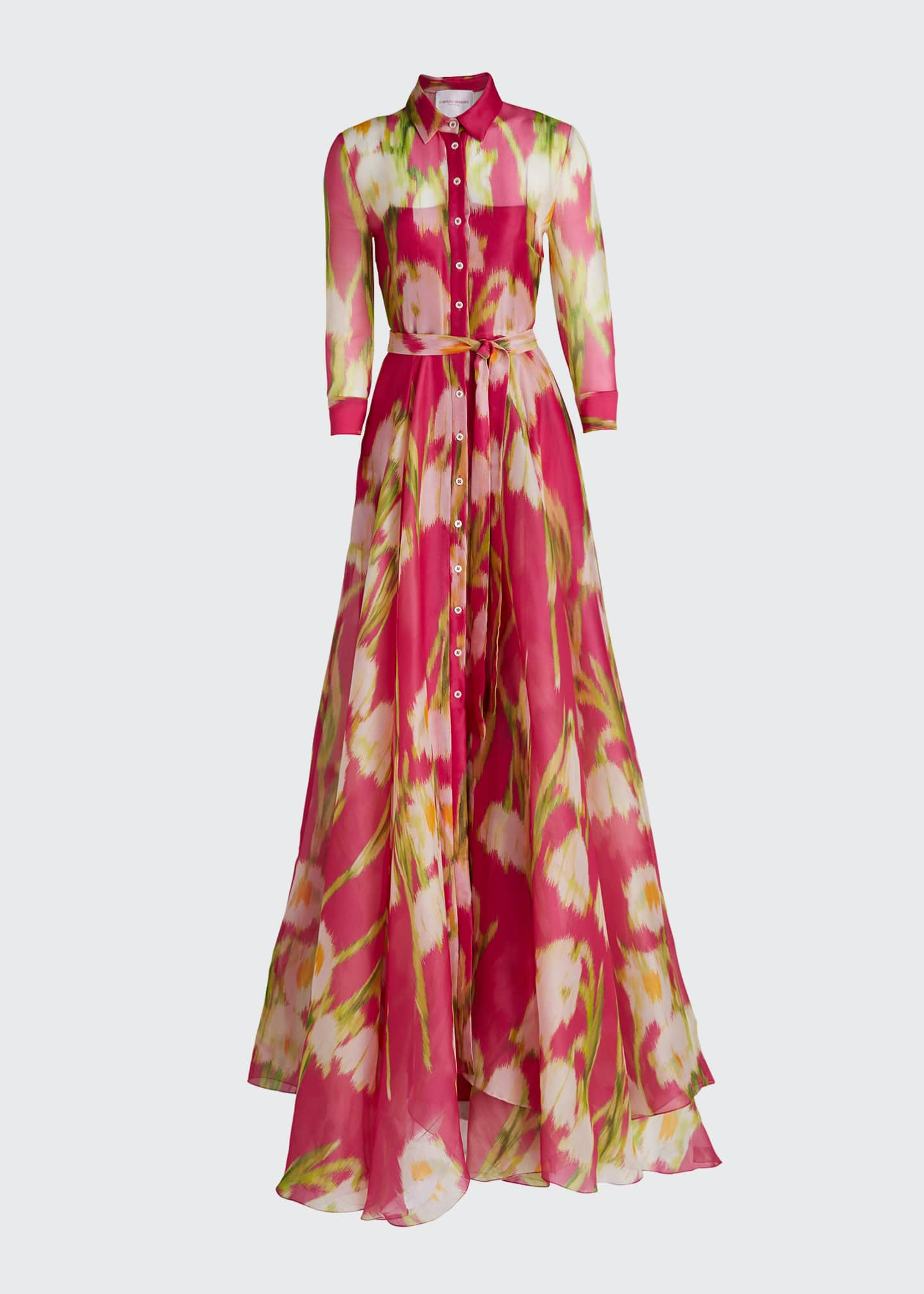 Image 5 of 5: Floral Print Silk Shirtdress