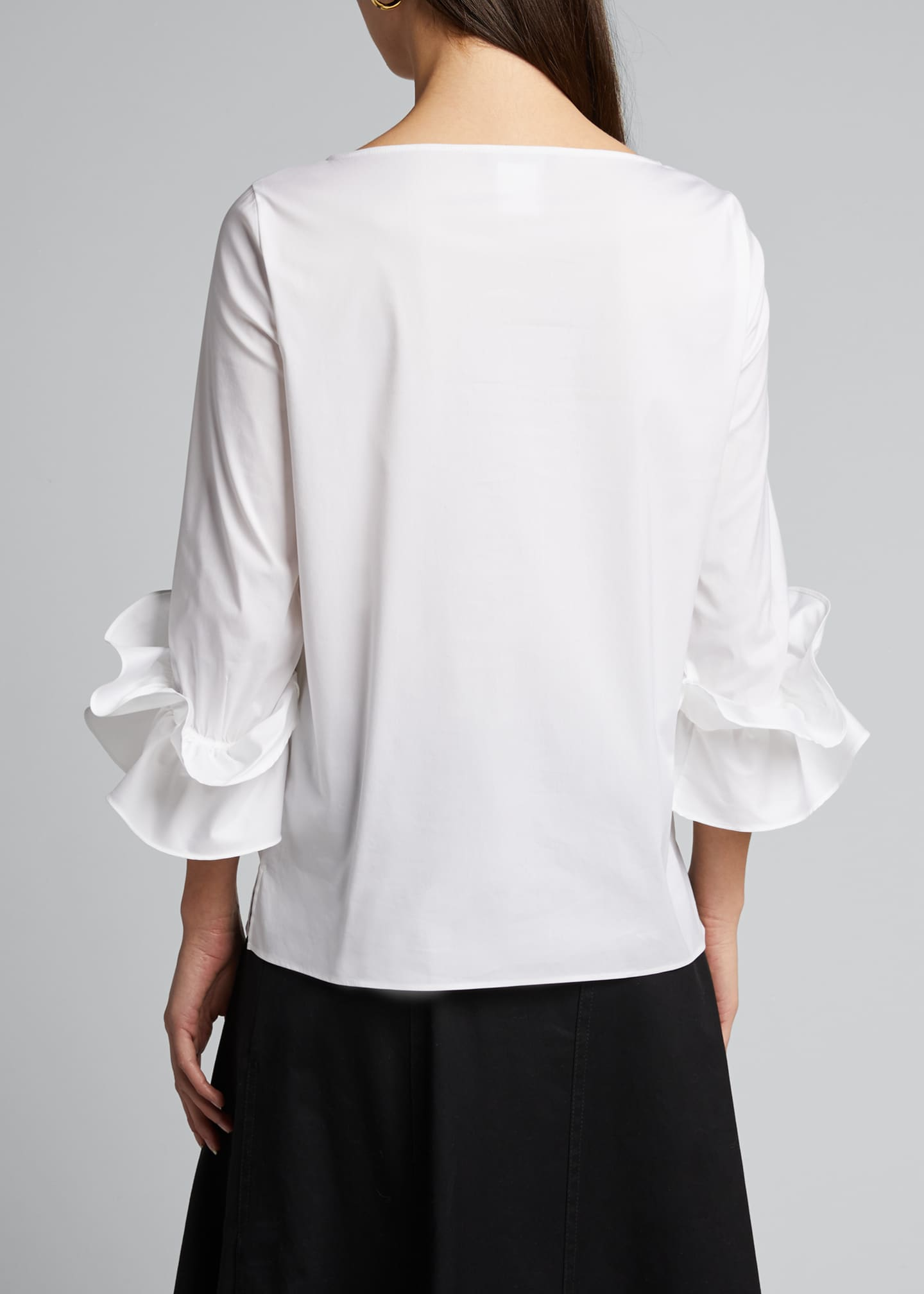Image 2 of 5: Whitby Italian Stretch Cotton Ruffle-Sleeve Blouse