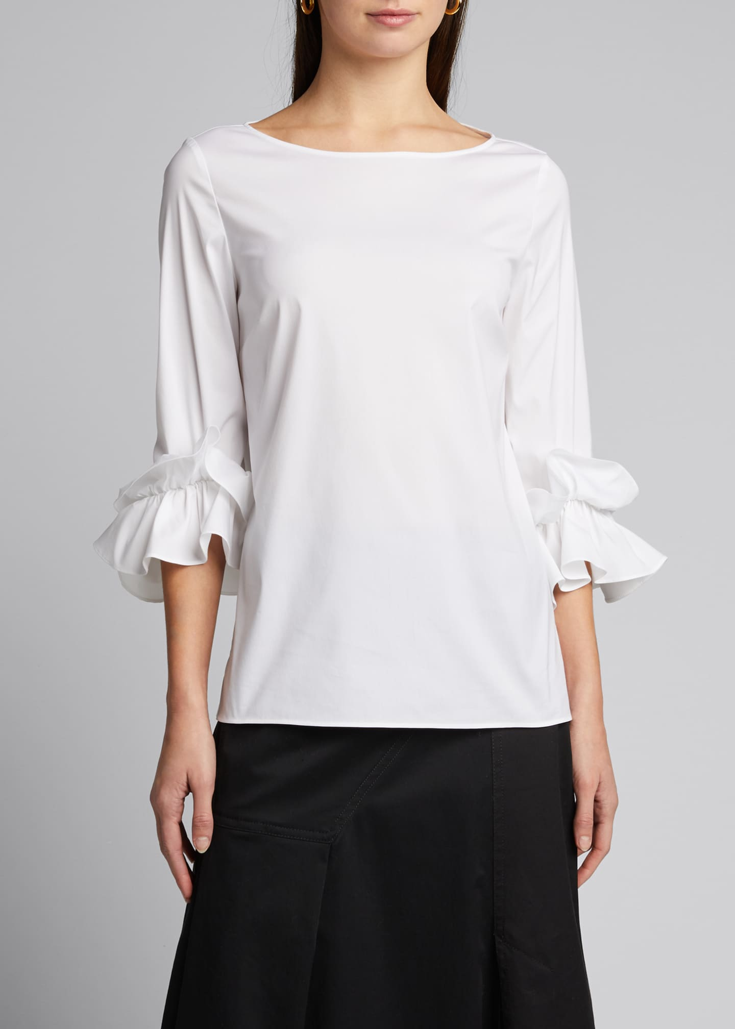 Image 3 of 5: Whitby Italian Stretch Cotton Ruffle-Sleeve Blouse