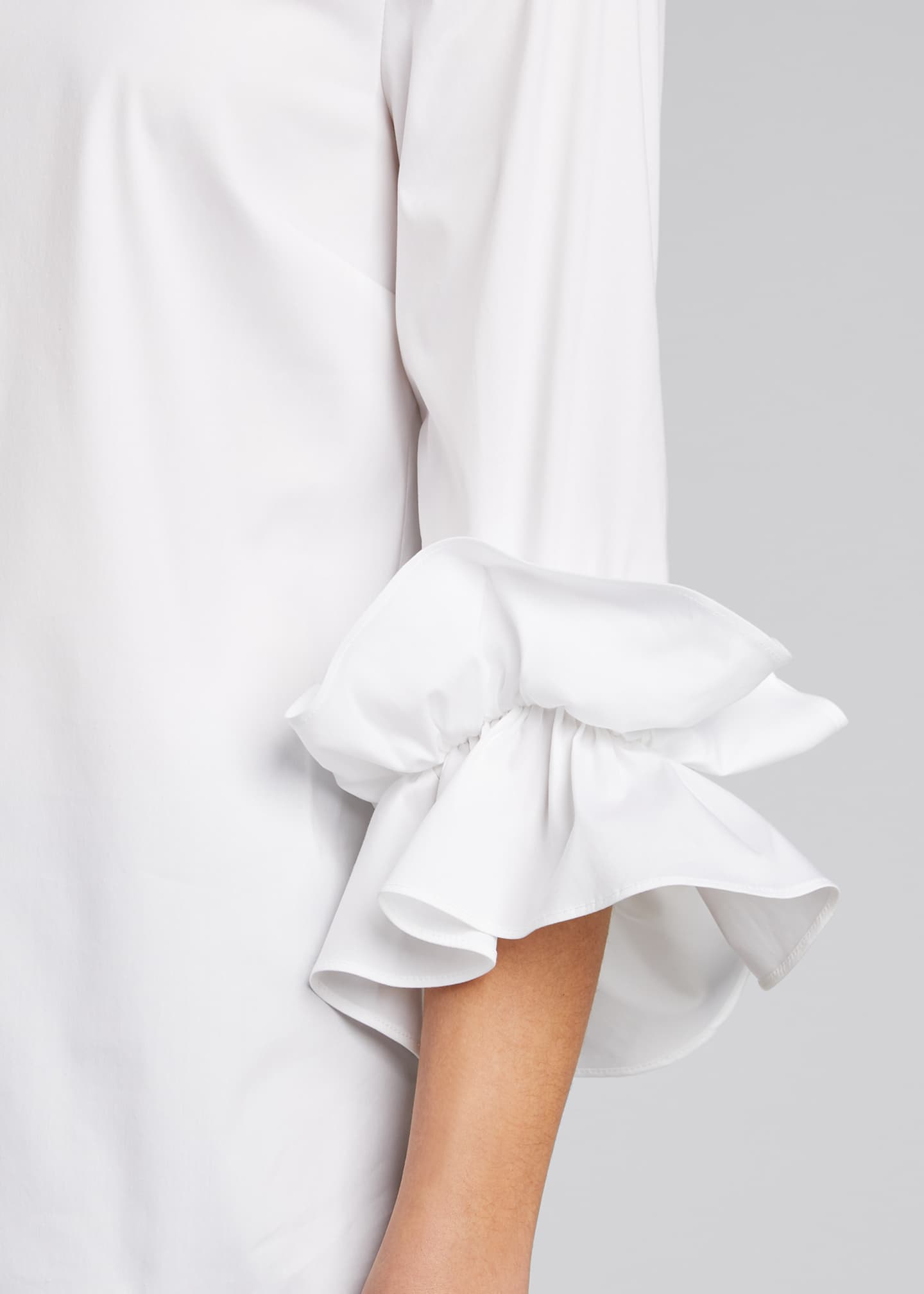 Image 4 of 5: Whitby Italian Stretch Cotton Ruffle-Sleeve Blouse