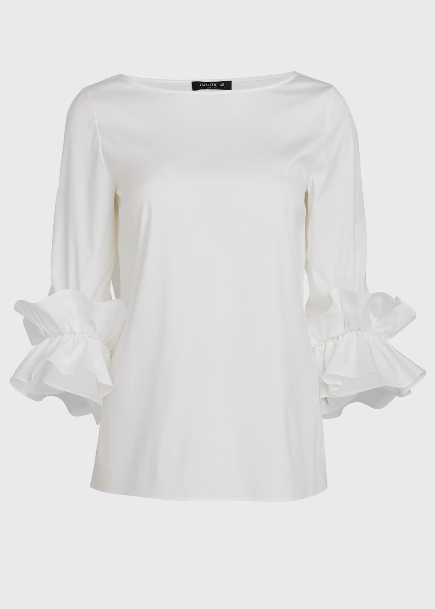 Image 5 of 5: Whitby Italian Stretch Cotton Ruffle-Sleeve Blouse