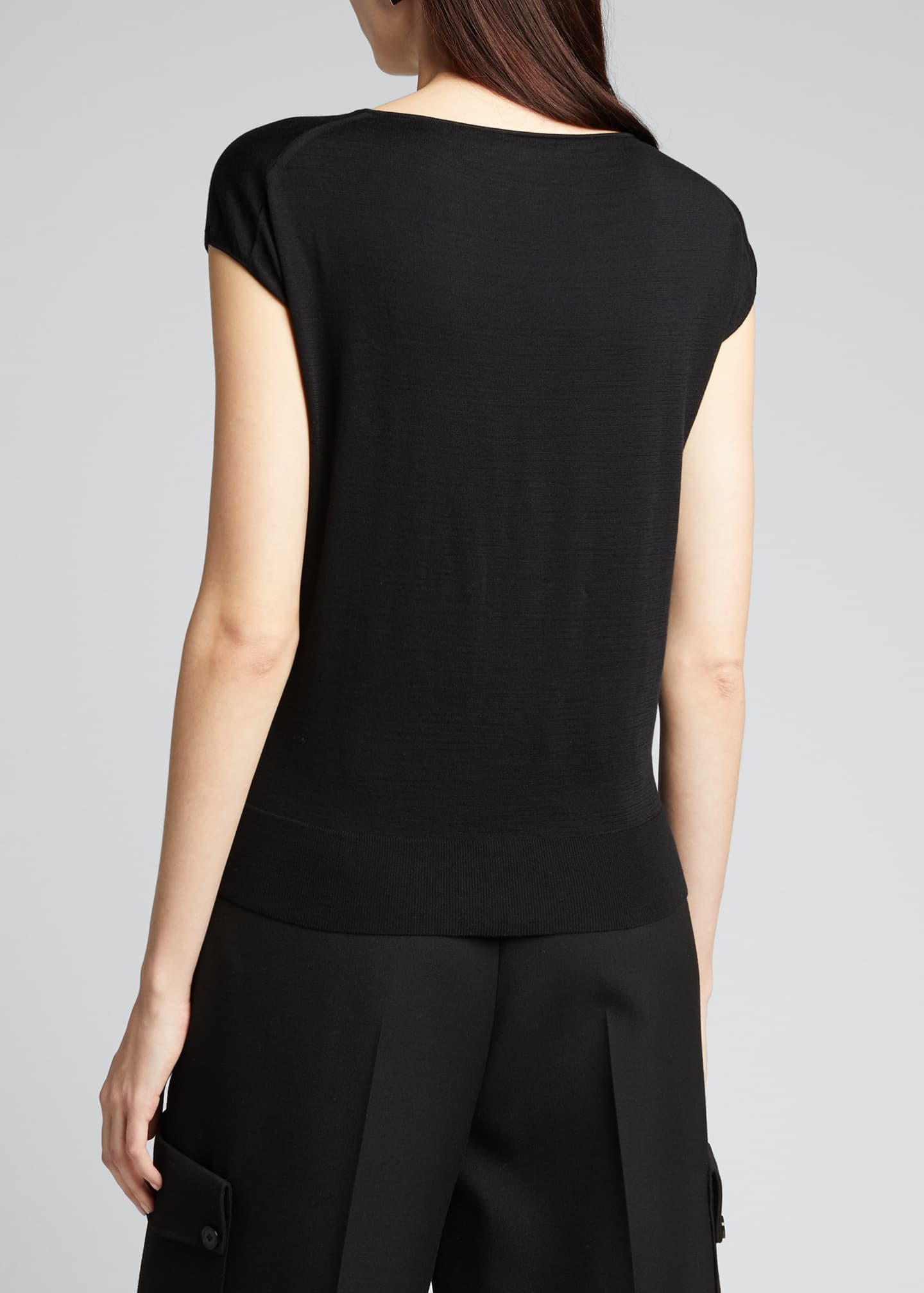 Image 2 of 2: Sheer Front Cap-Sleeve Top