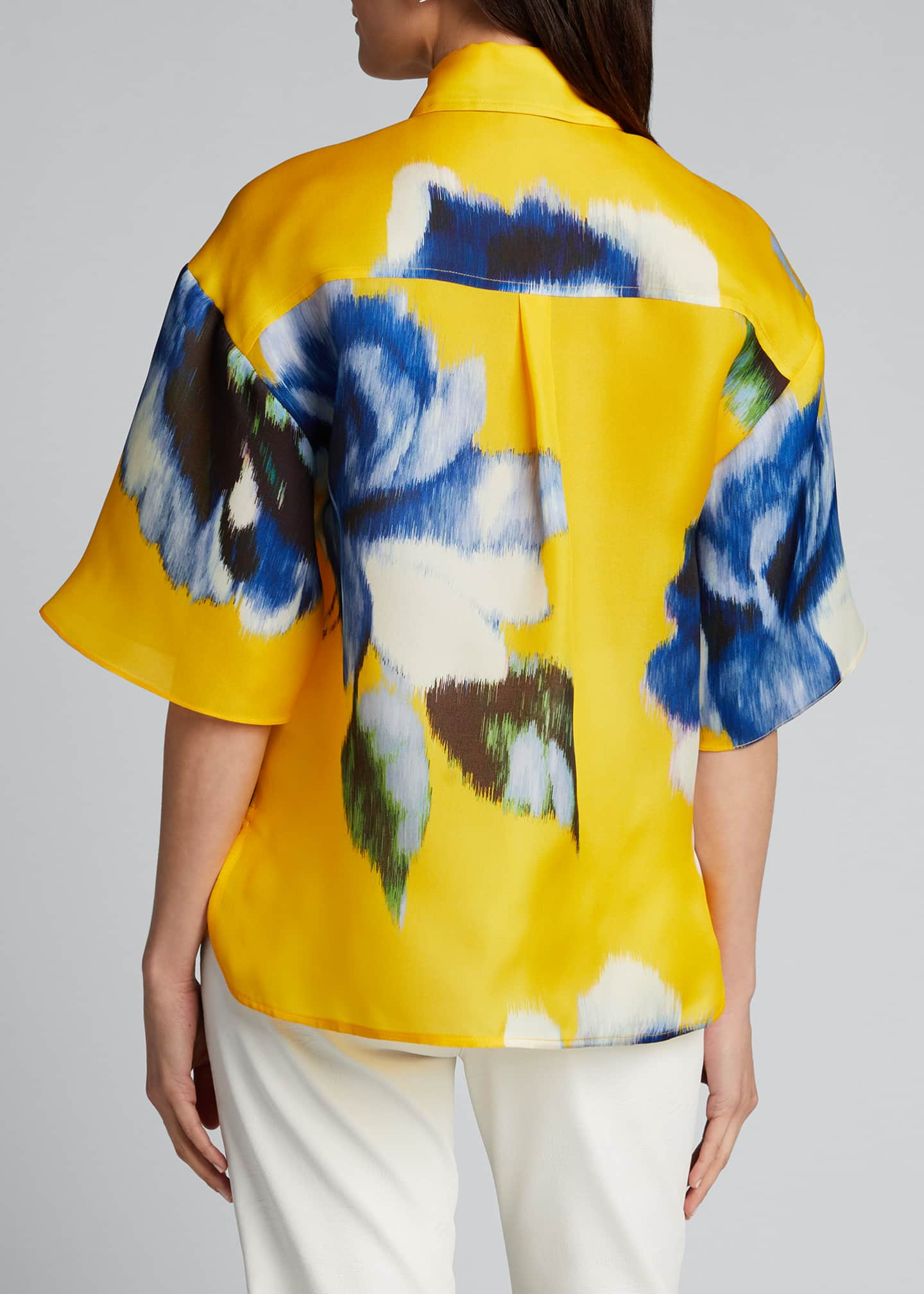 Image 2 of 5: Silk Button-Front Shirt
