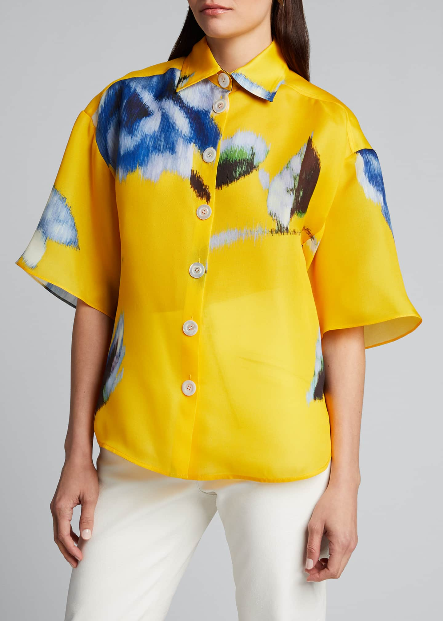 Image 3 of 5: Silk Button-Front Shirt
