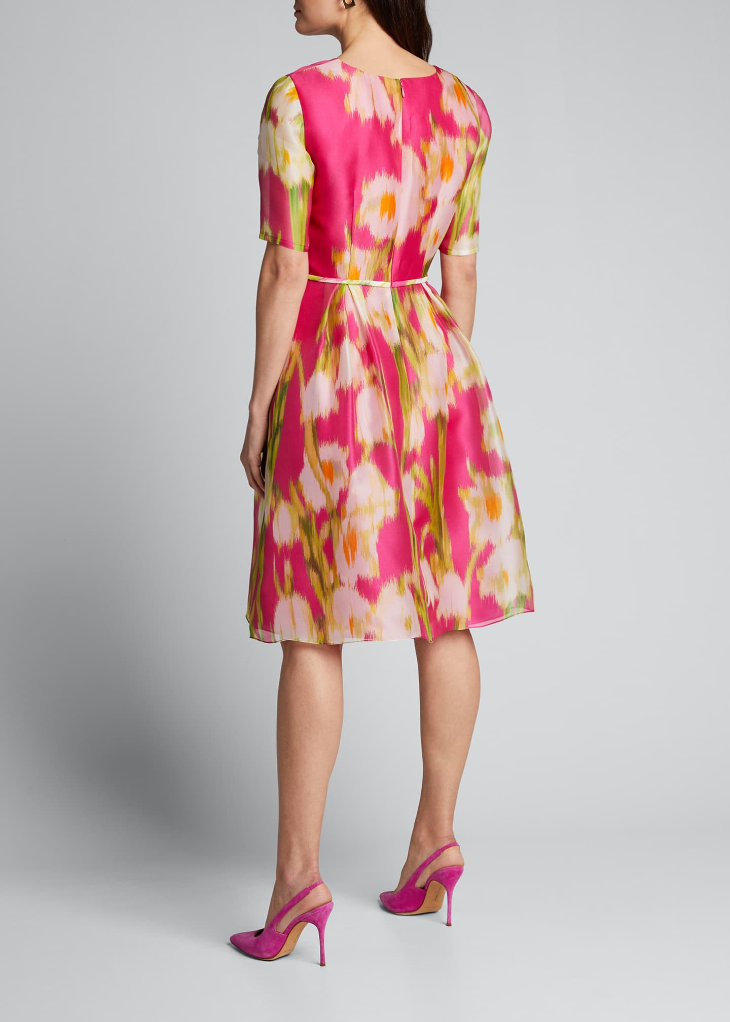 Image 2 of 5: Floral-Print Chiffon 1/2-Sleeve Dress