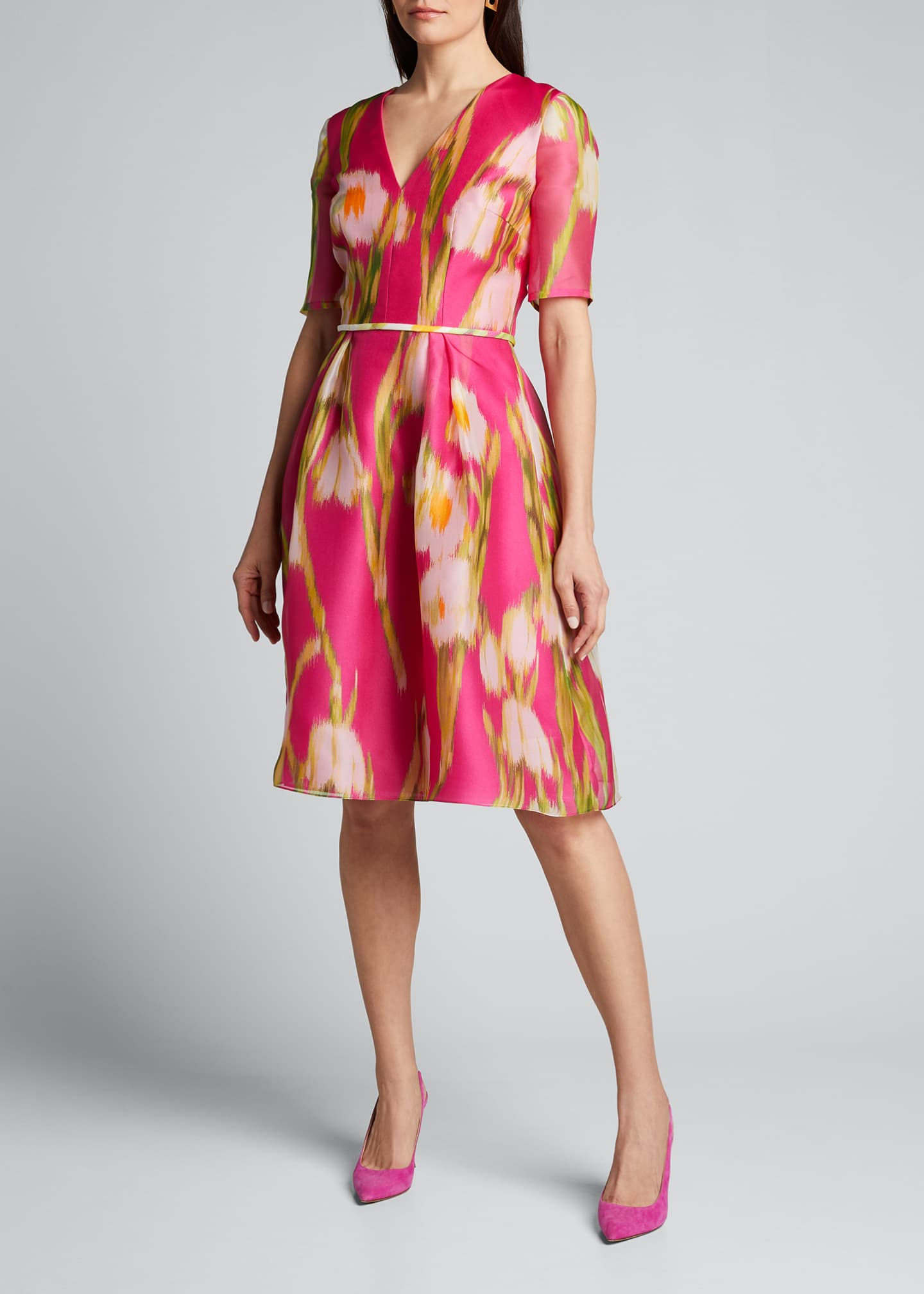 Image 3 of 5: Floral-Print Chiffon 1/2-Sleeve Dress