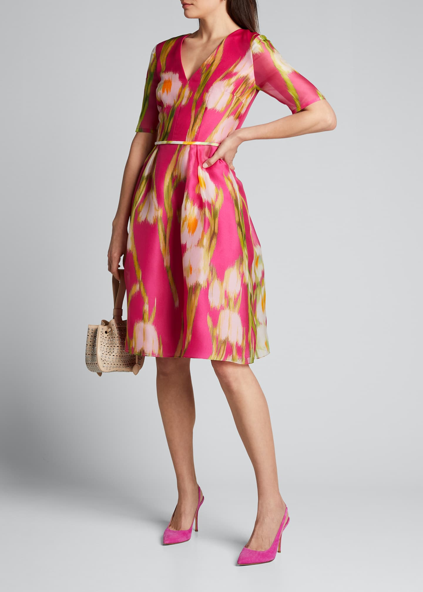 Image 1 of 5: Floral-Print Chiffon 1/2-Sleeve Dress