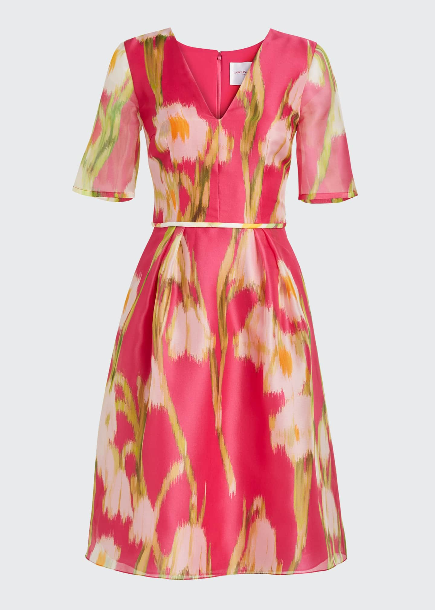 Image 5 of 5: Floral-Print Chiffon 1/2-Sleeve Dress