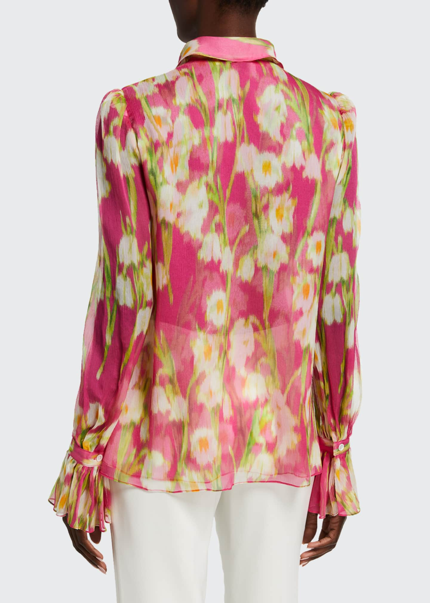 Image 2 of 5: Floral Print Chiffon Puff-Sleeve Shirt