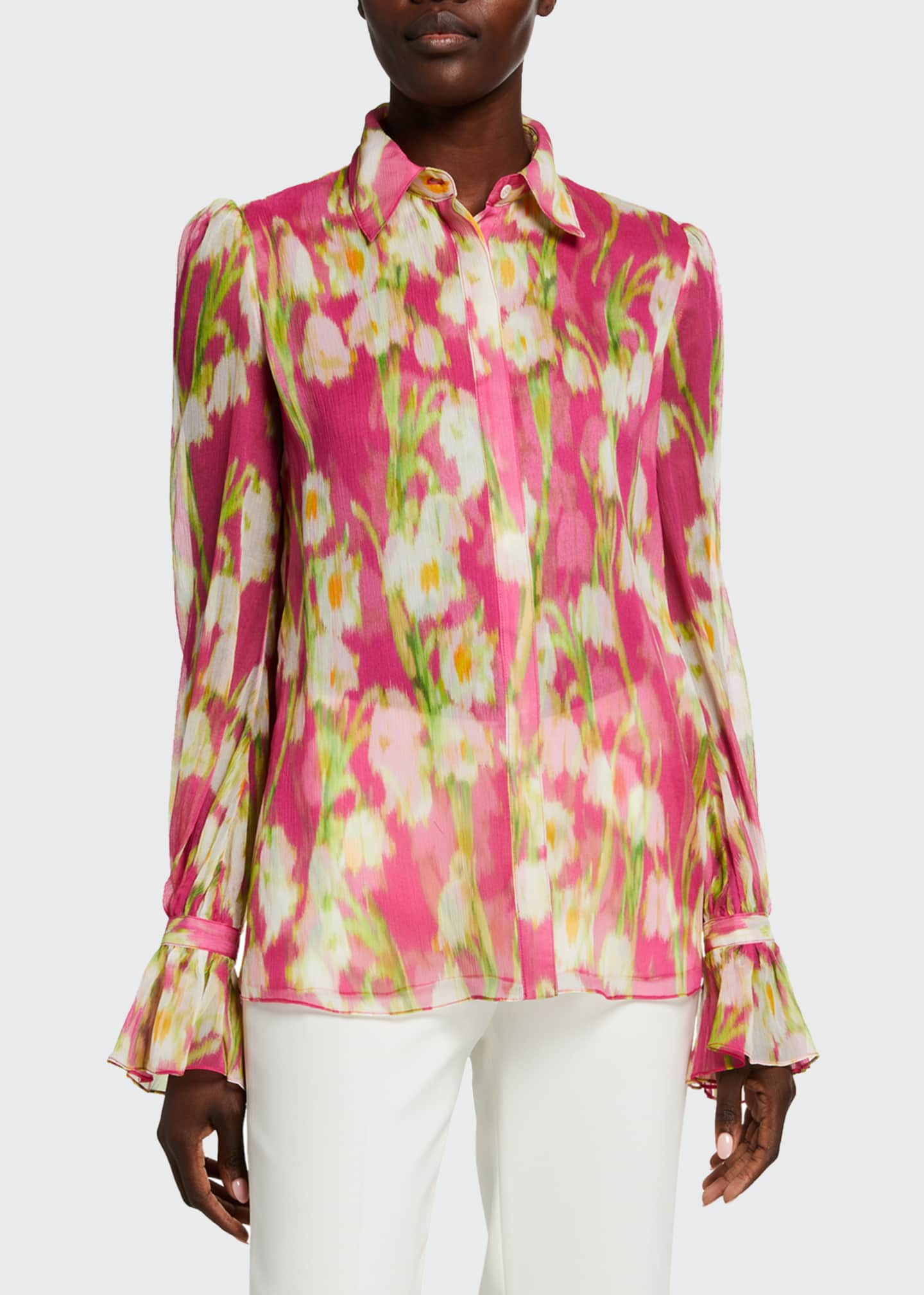 Image 1 of 5: Floral Print Chiffon Puff-Sleeve Shirt