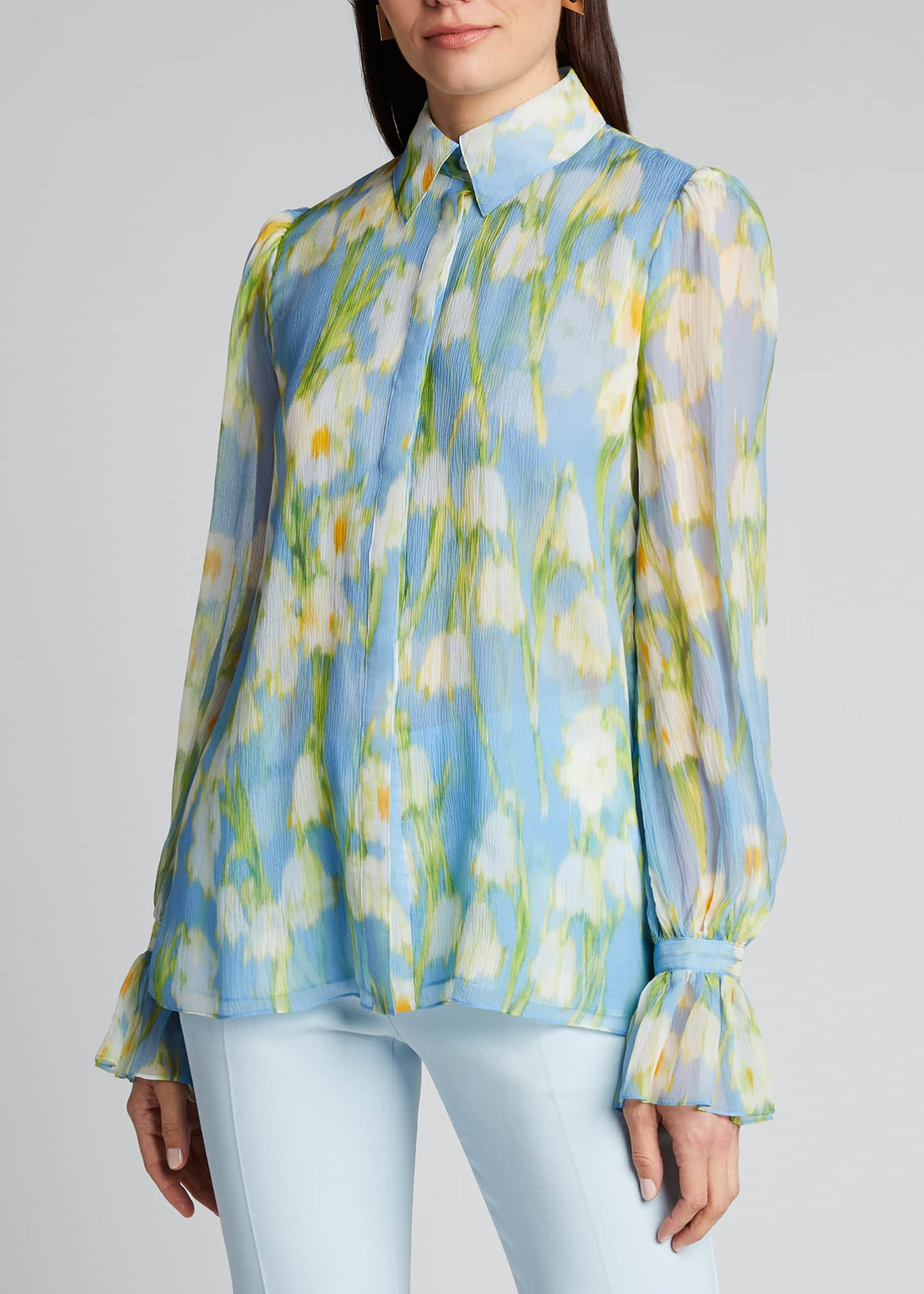 Image 3 of 5: Floral Print Chiffon Puff-Sleeve Shirt