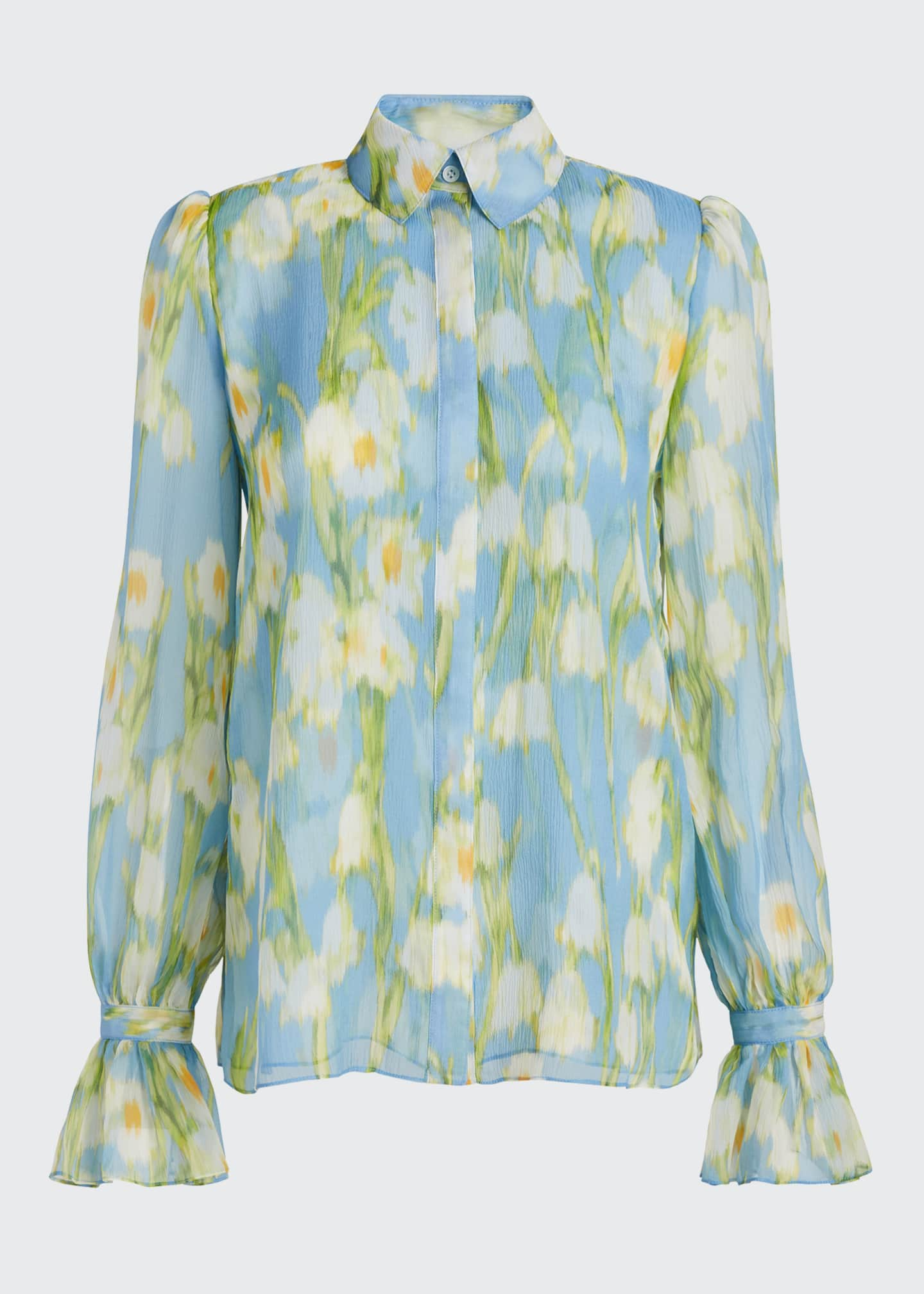 Image 5 of 5: Floral Print Chiffon Puff-Sleeve Shirt