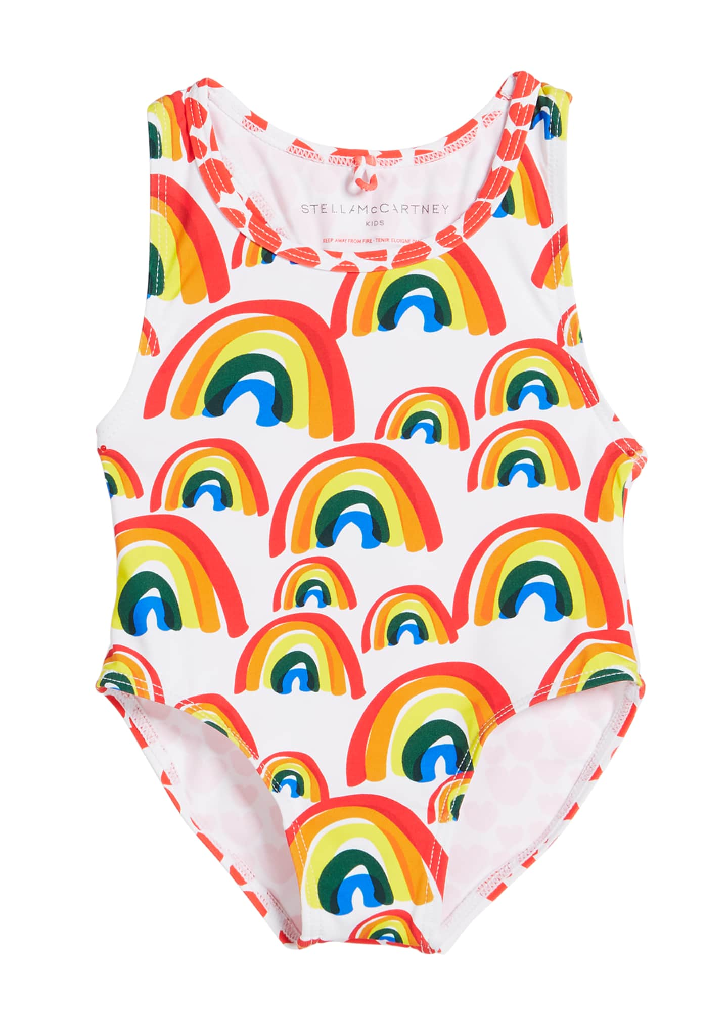 Image 1 of 1: Girl's Rainbow & Hearts One-Piece Swimsuit, Size 12-36 Months