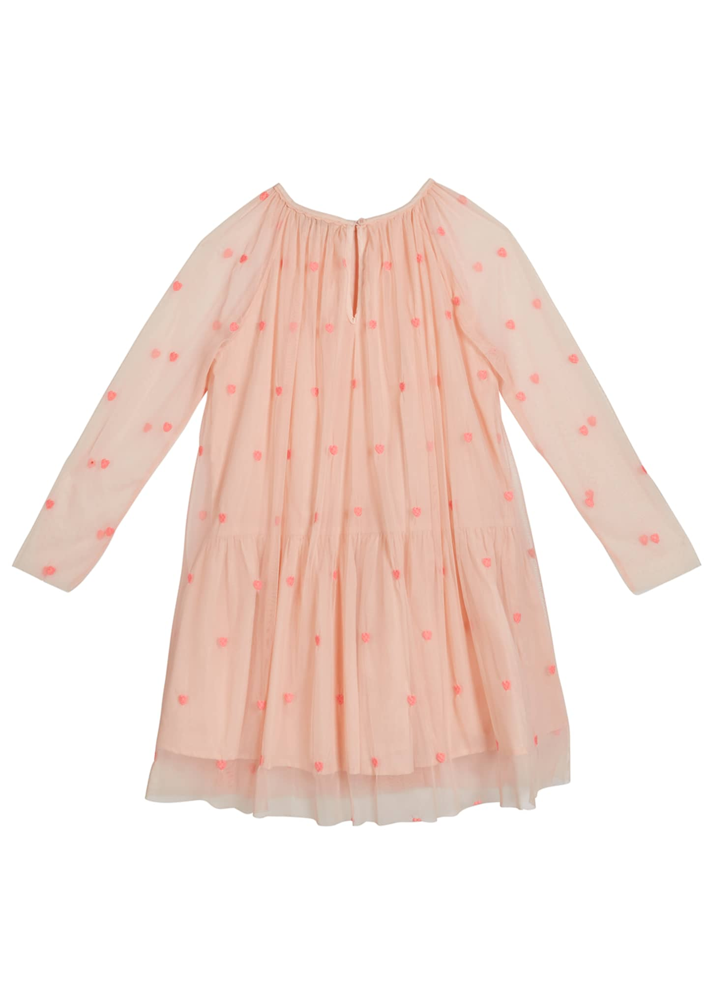 Image 2 of 2: Girl's Embroidered Hearts Long-Sleeve Tulle Dress, Size 4-14