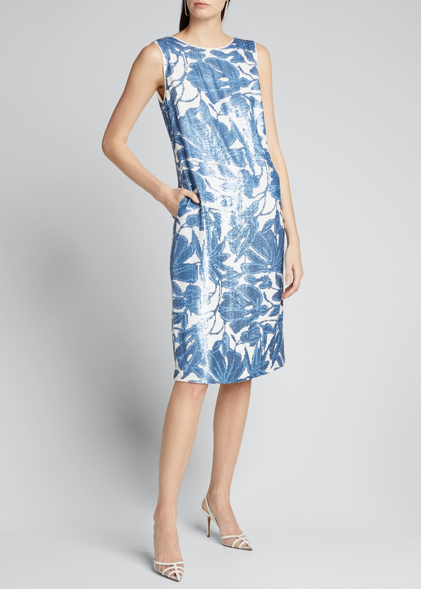 Image 3 of 5: Noah Floral Sequined Sleeveless Dress