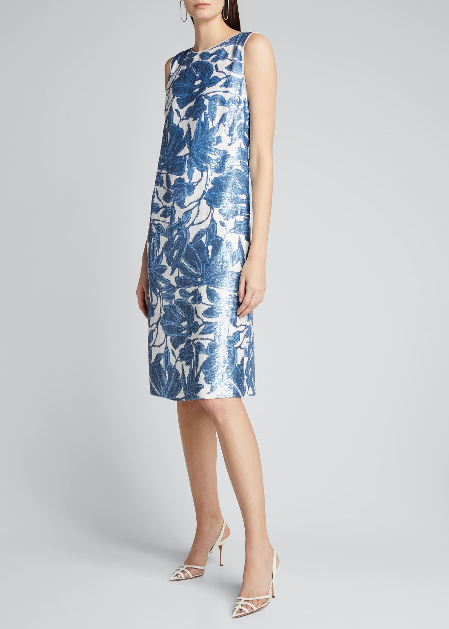 Image 1 of 5: Noah Floral Sequined Sleeveless Dress