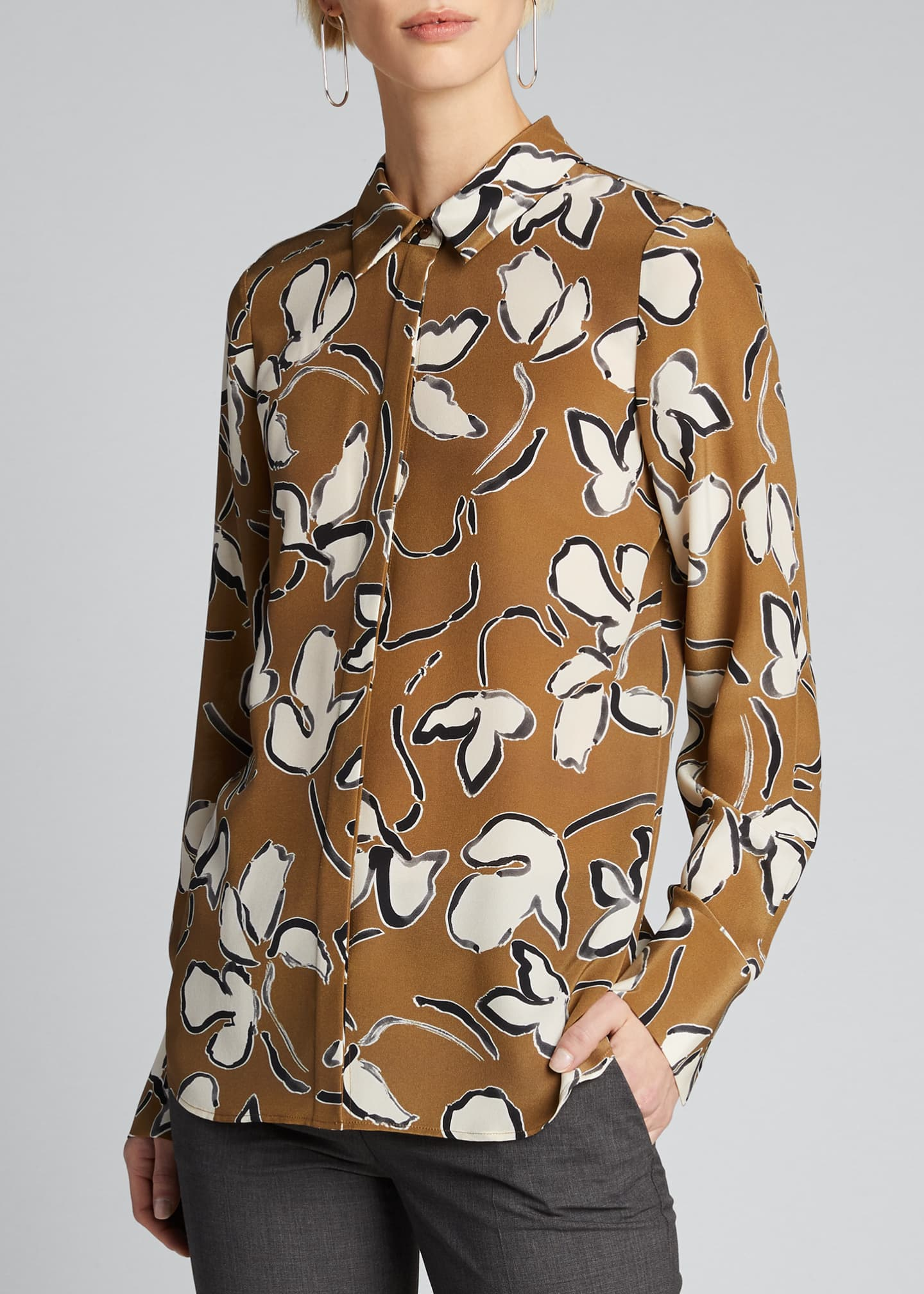 Image 3 of 5: Scottie Tossed Vine Printed Blouse
