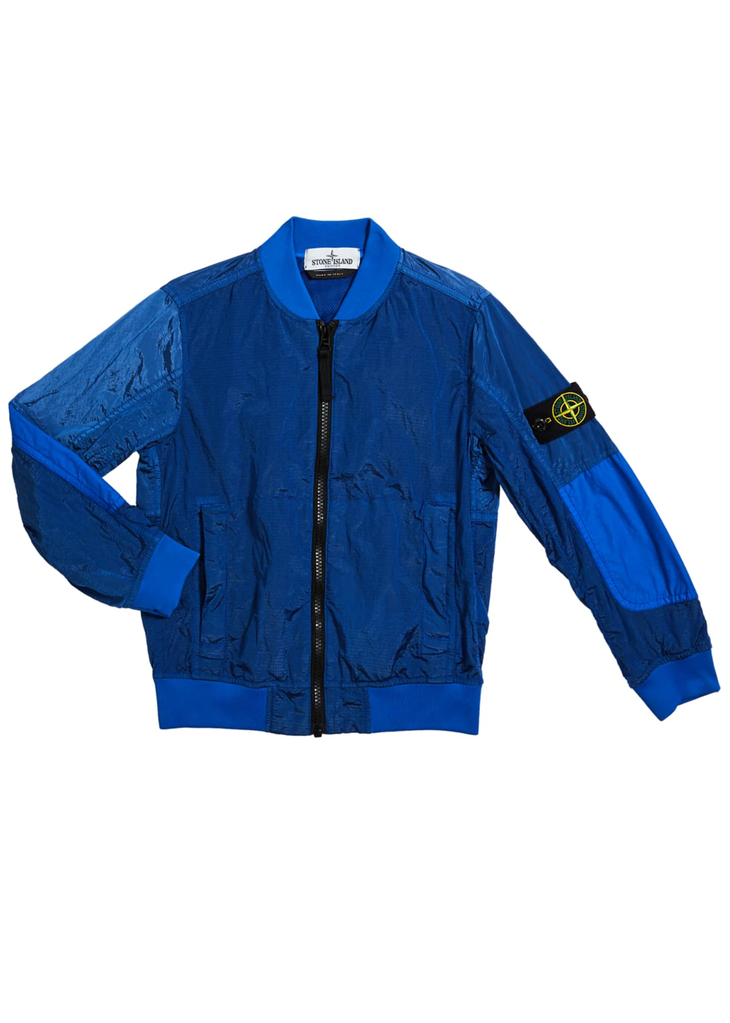 Image 1 of 1: Boy's Ripstop Wind-Resistant Nylon Bomber Jacket, Size 10-12