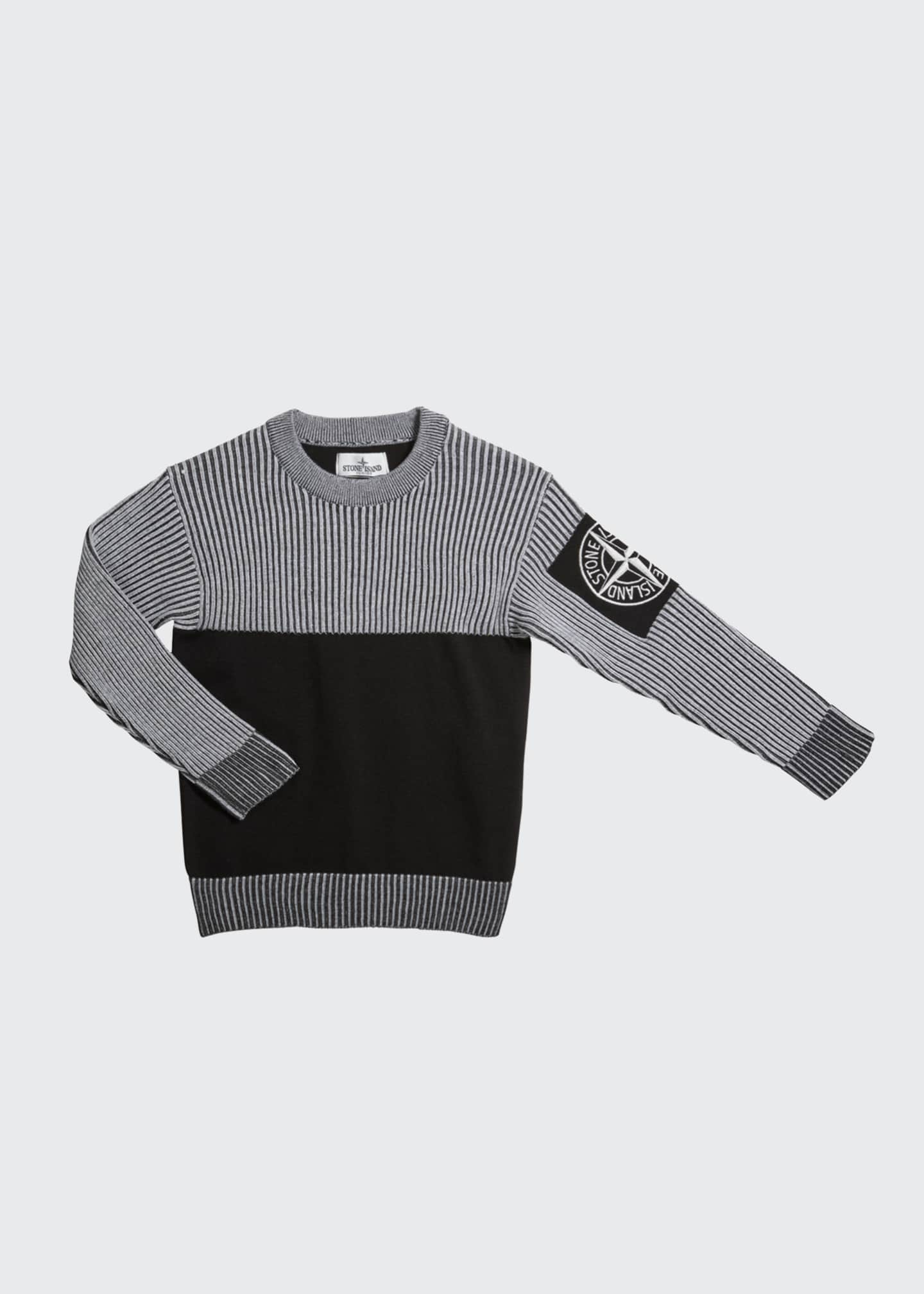 Image 1 of 1: Boy's Crewneck Sweater with Logo Arm Patch, Size 14