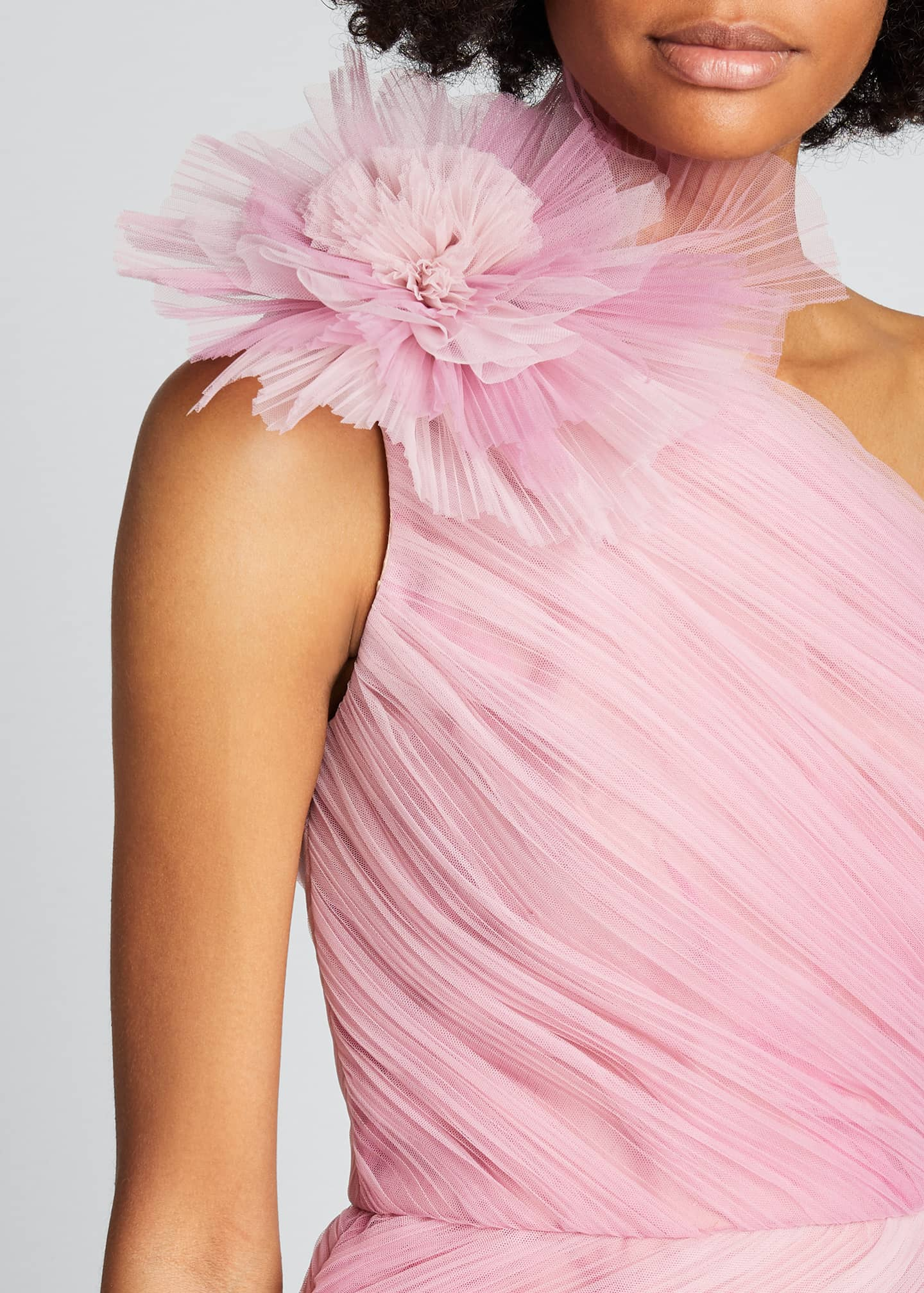 Image 4 of 5: Ombre Draped Tulle Cocktail Dress with Floral Detail