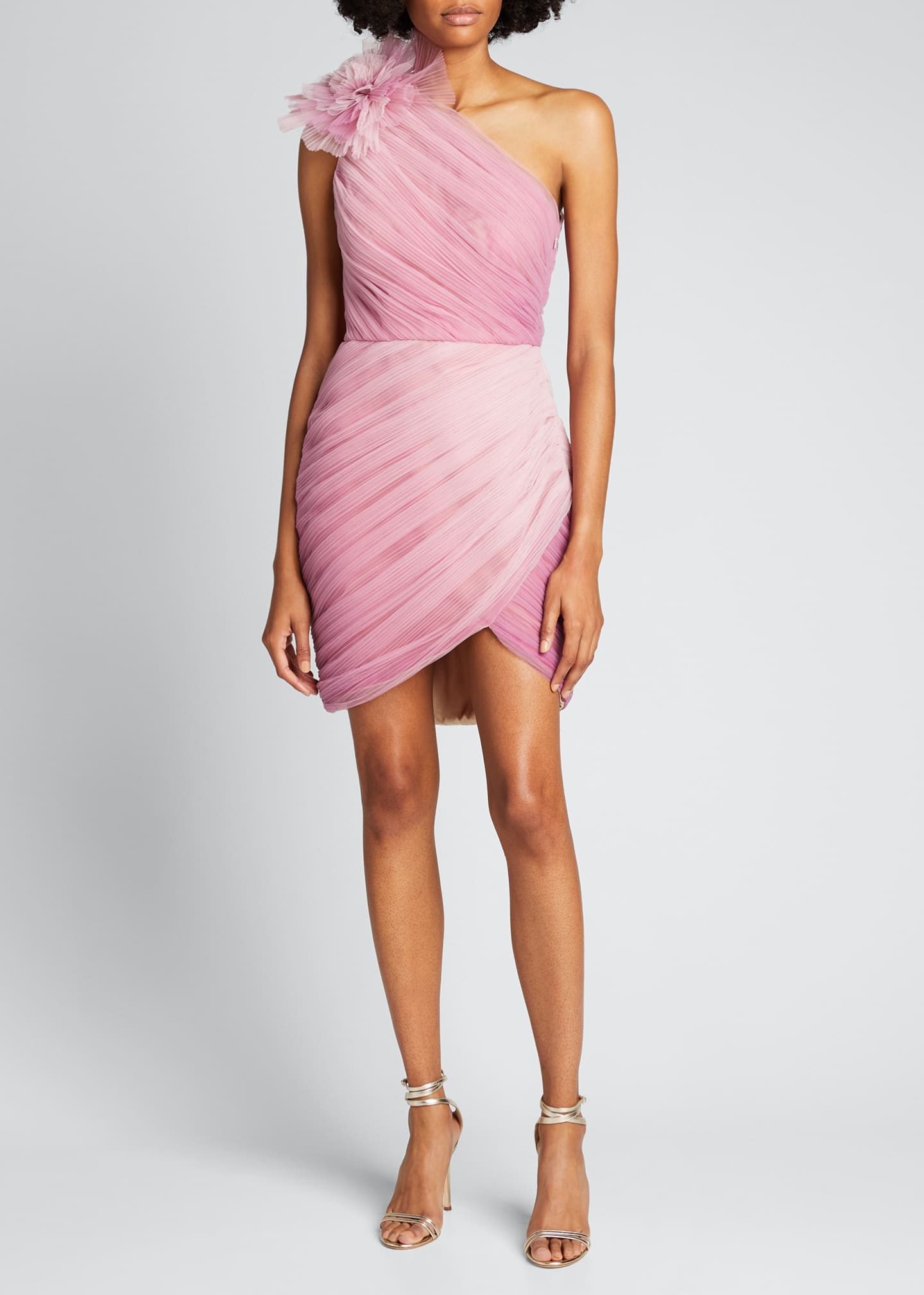 Image 1 of 5: Ombre Draped Tulle Cocktail Dress with Floral Detail