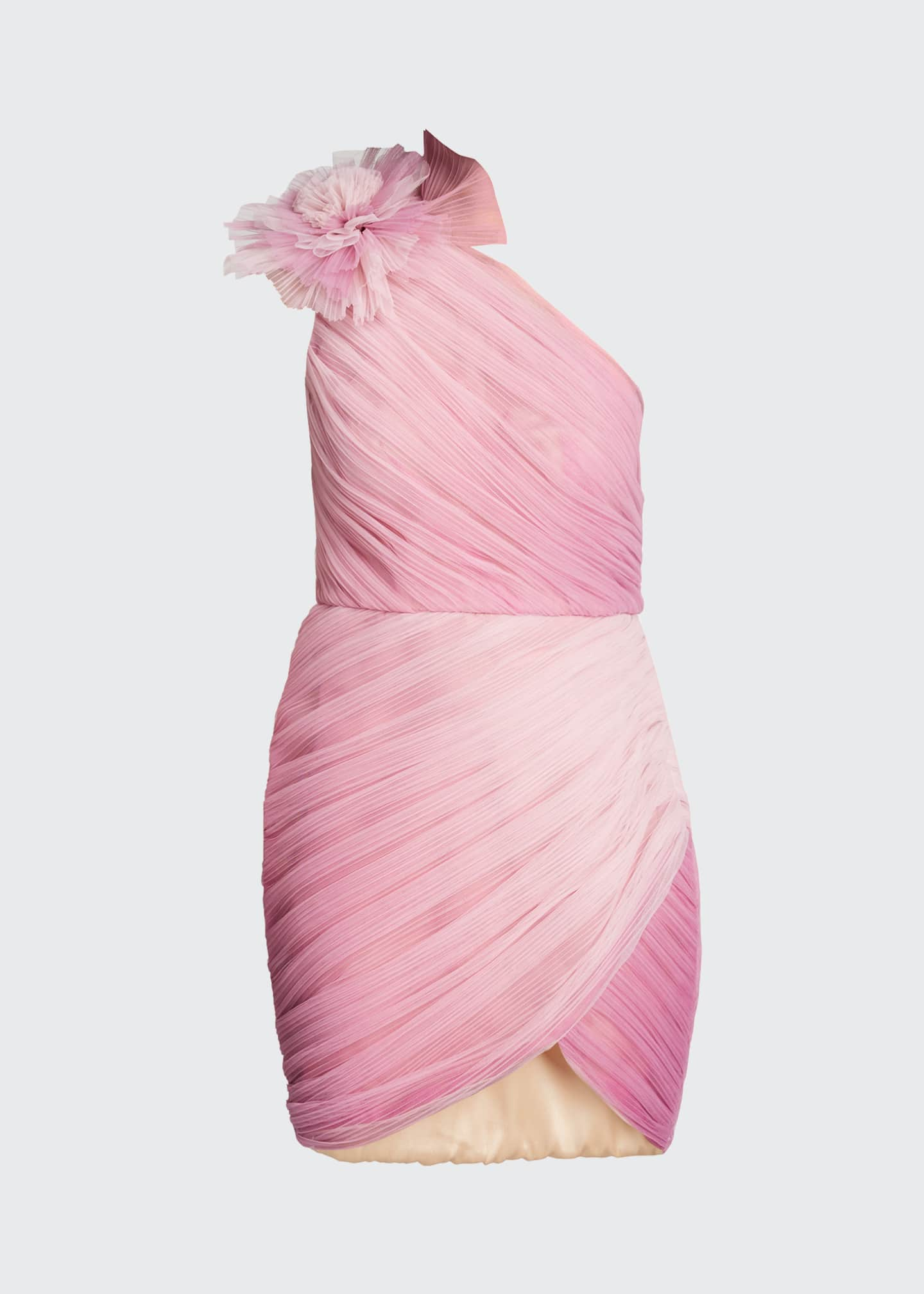 Image 5 of 5: Ombre Draped Tulle Cocktail Dress with Floral Detail
