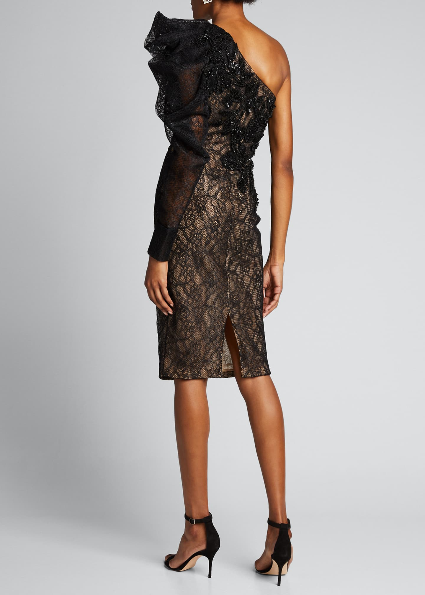 Image 2 of 5: One-Shoulder Lace Cocktail Dress