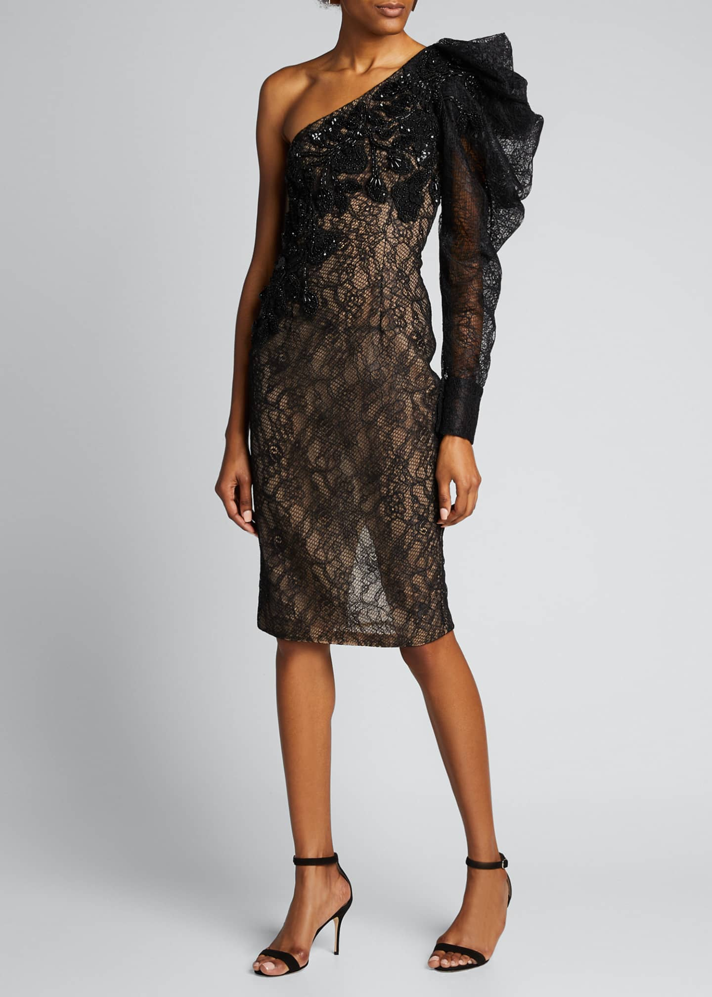 Image 3 of 5: One-Shoulder Lace Cocktail Dress