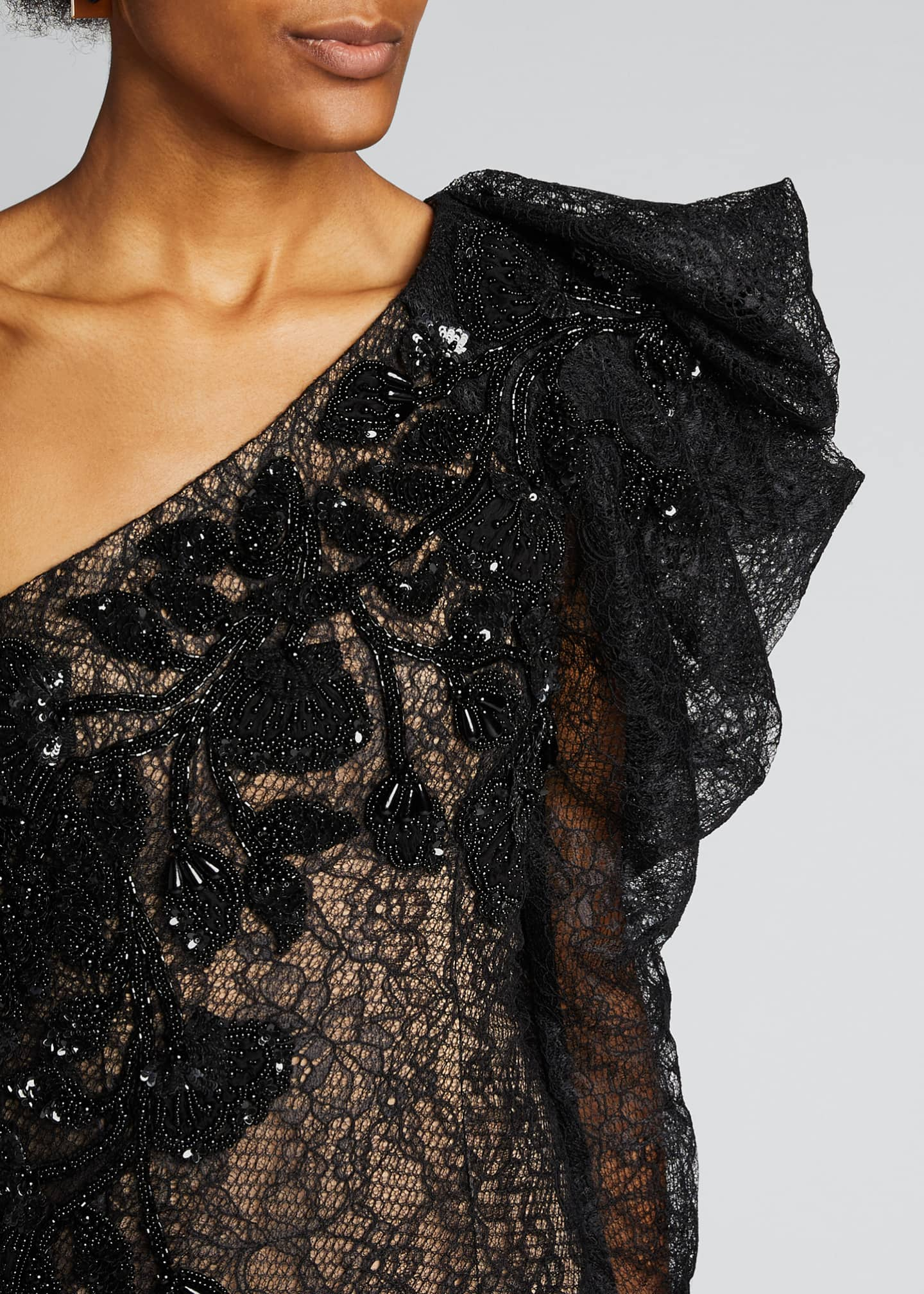 Image 4 of 5: One-Shoulder Lace Cocktail Dress