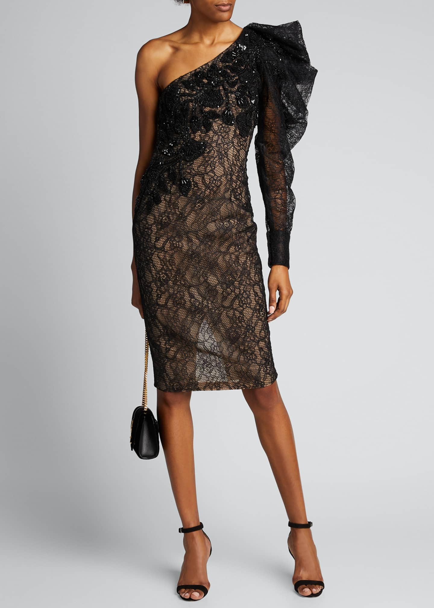 Image 1 of 5: One-Shoulder Lace Cocktail Dress