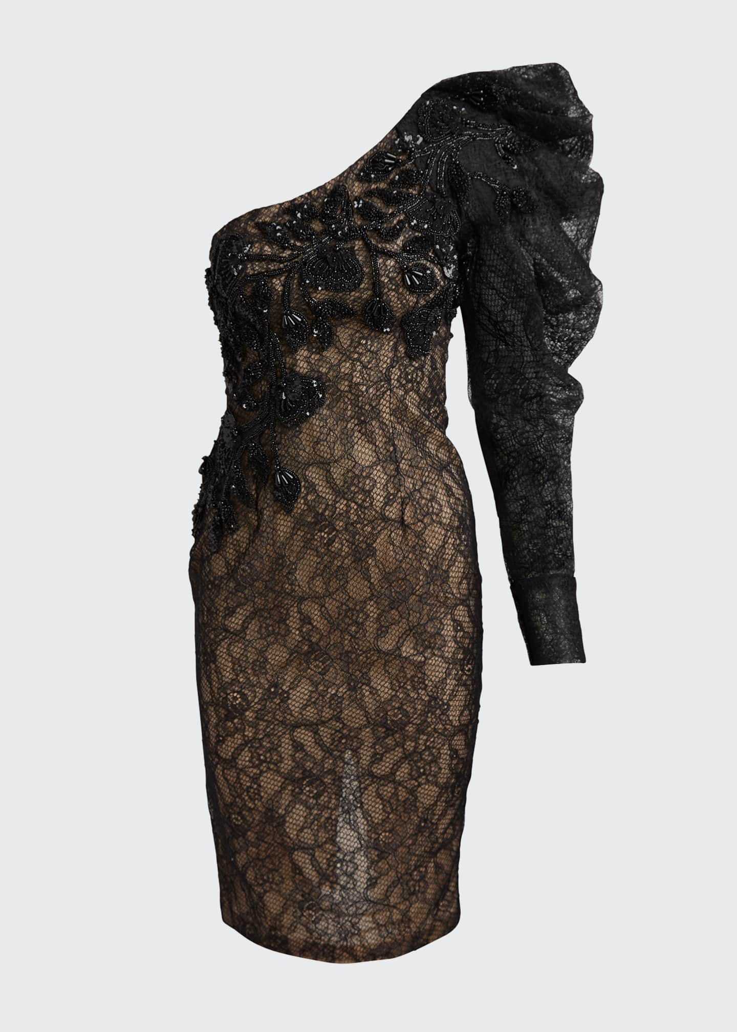 Image 5 of 5: One-Shoulder Lace Cocktail Dress