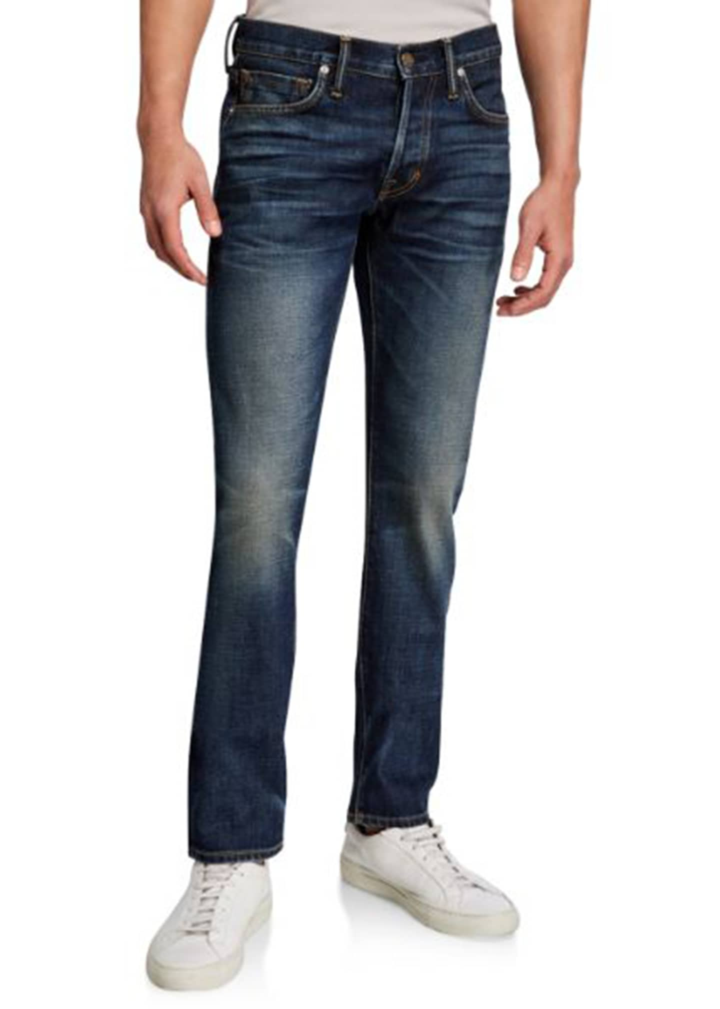 Image 1 of 1: Men's New Indigo Washed Straight-Fit Denim Jeans