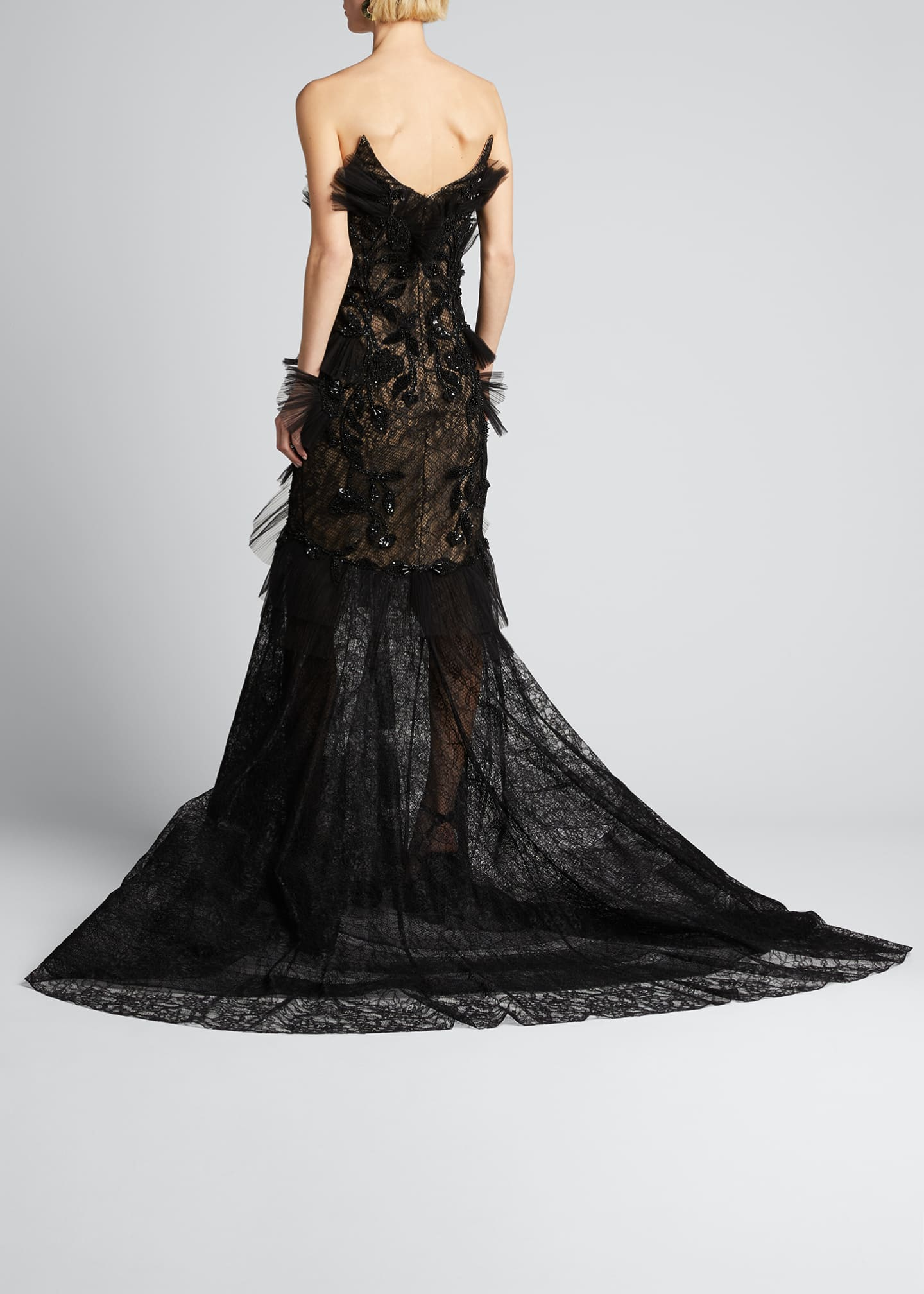 Image 2 of 5: Floral Embroidered Lace Applique Gown