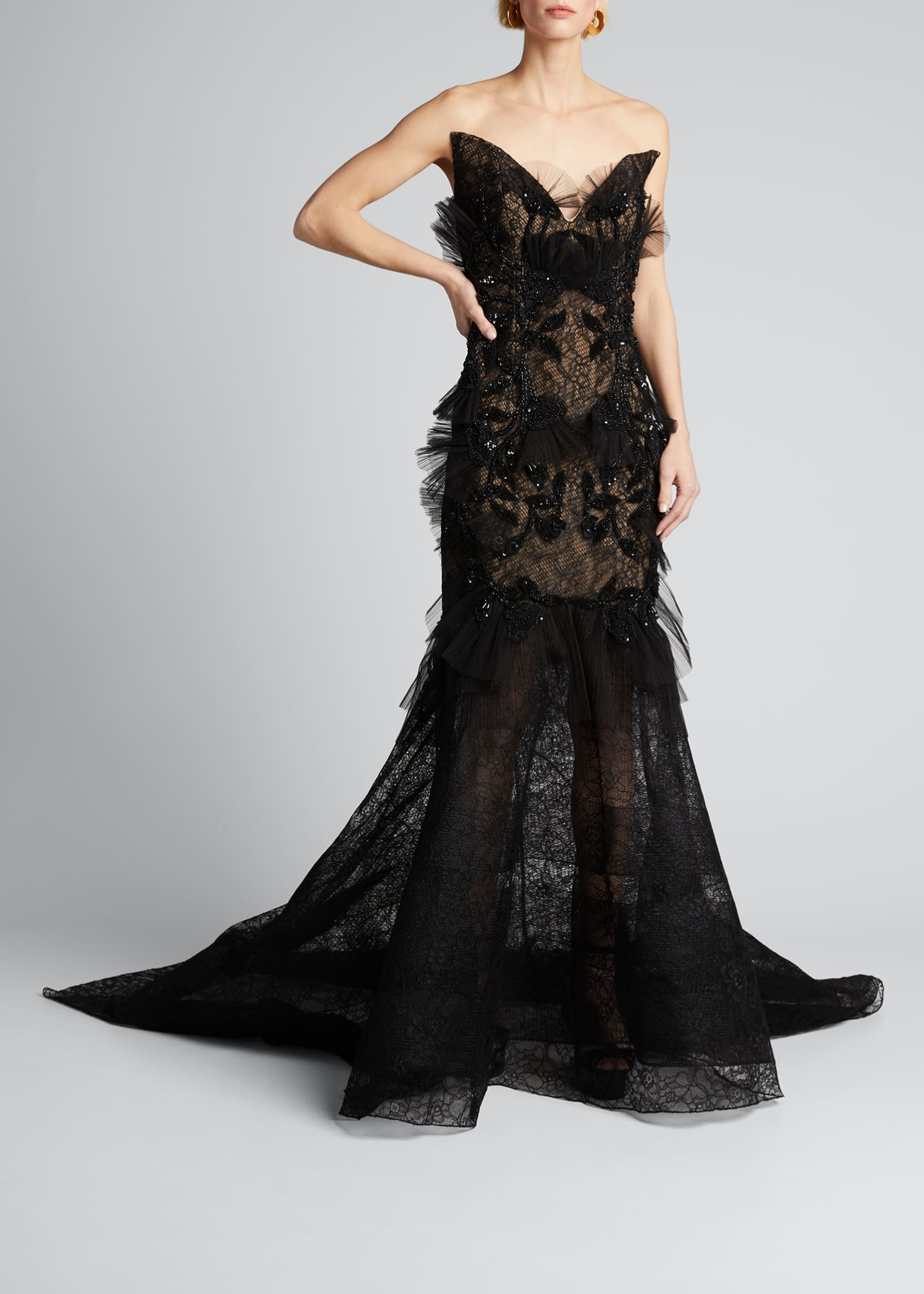 Image 3 of 5: Floral Embroidered Lace Applique Gown