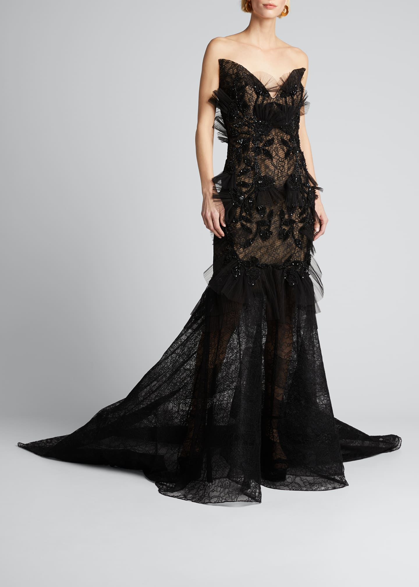 Image 1 of 5: Floral Embroidered Lace Applique Gown
