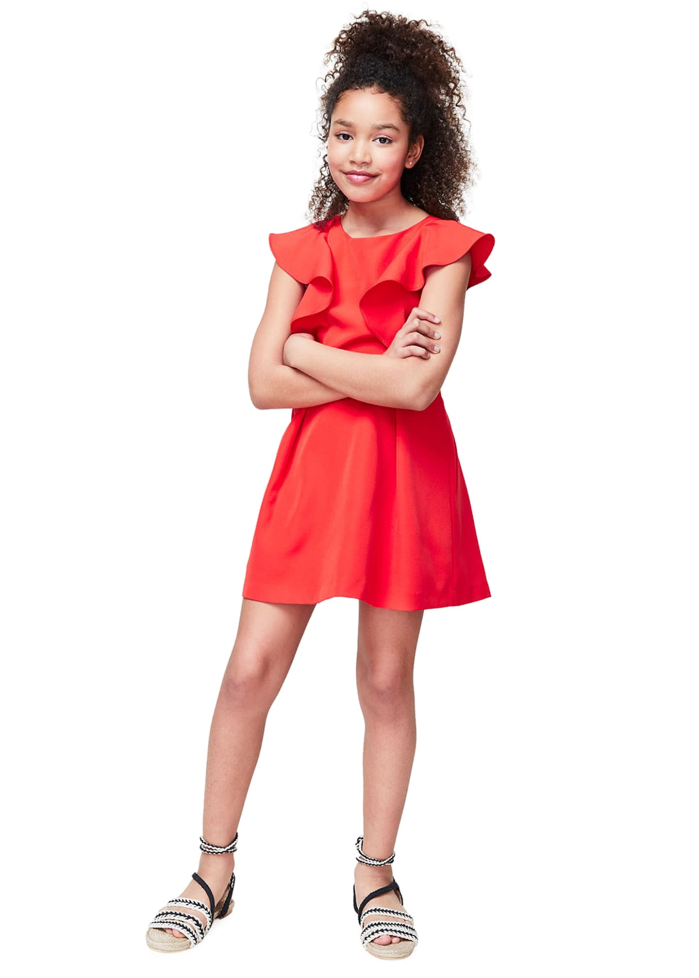 Image 2 of 3: Girl's Cady Waterfall Sleeves Dress, Size 7-16