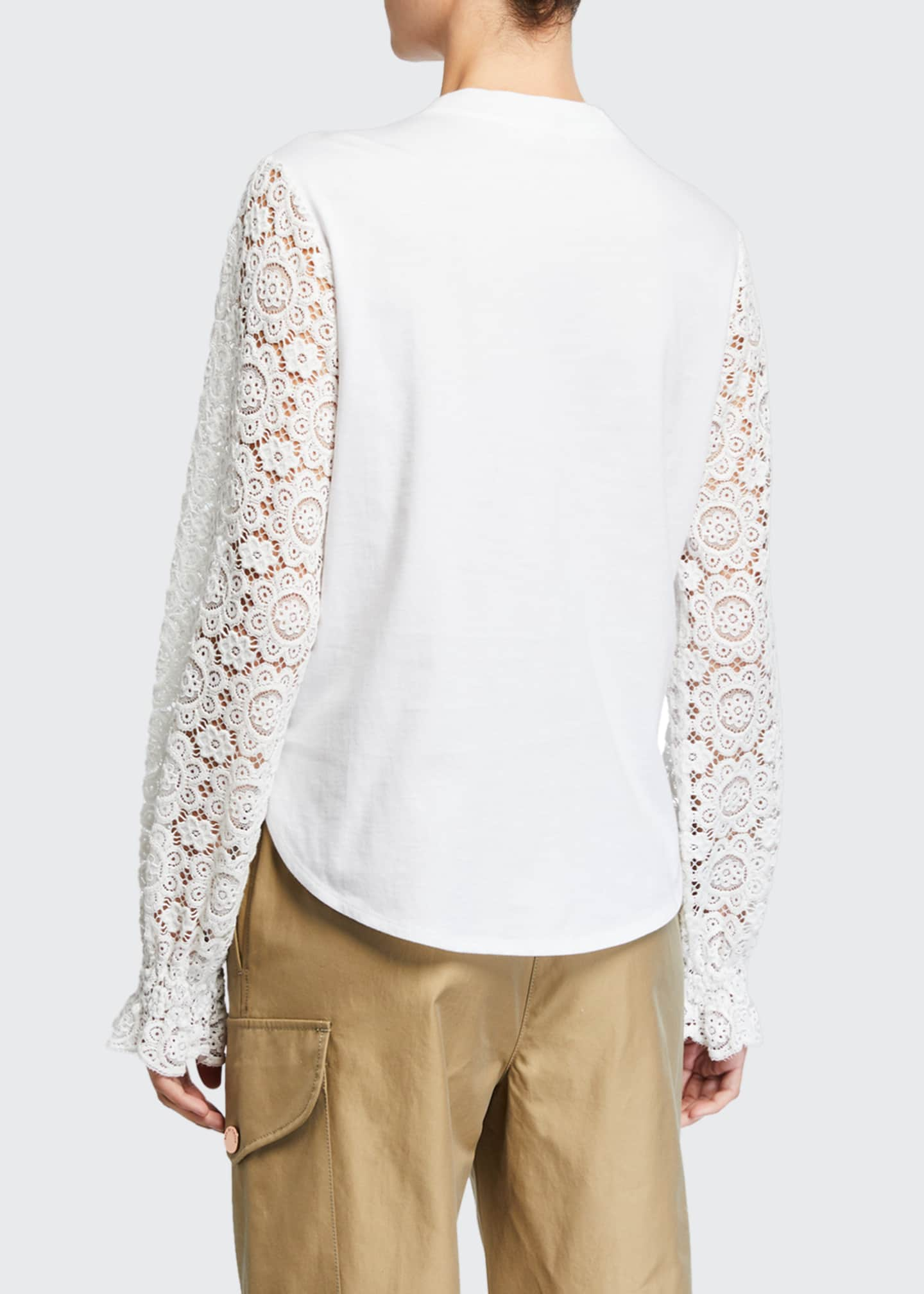 Image 2 of 3: Embellished Lace Crewneck Tee