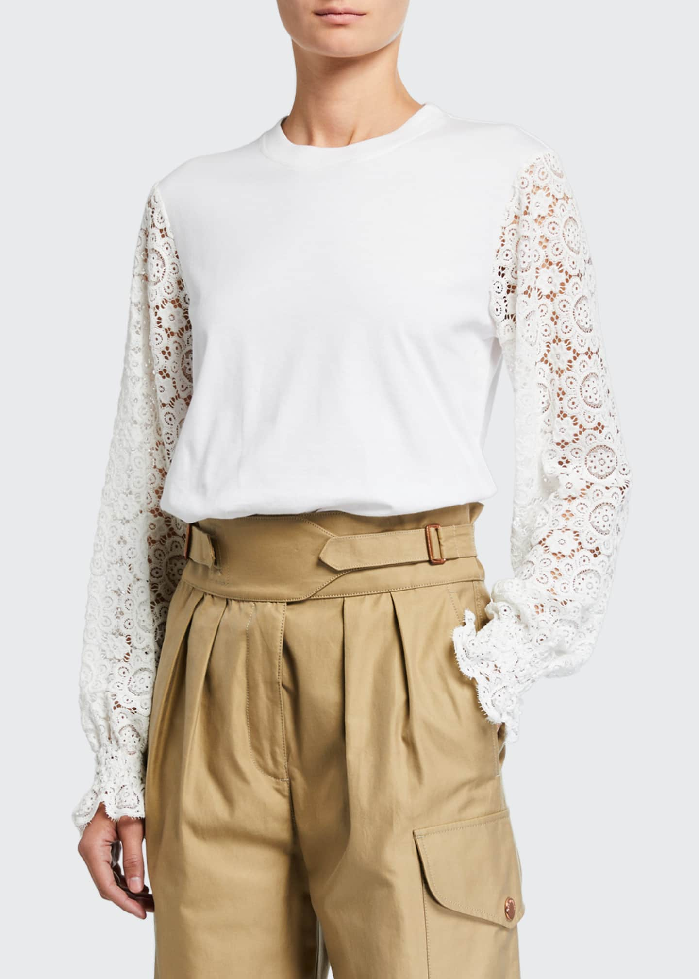 Image 3 of 3: Embellished Lace Crewneck Tee