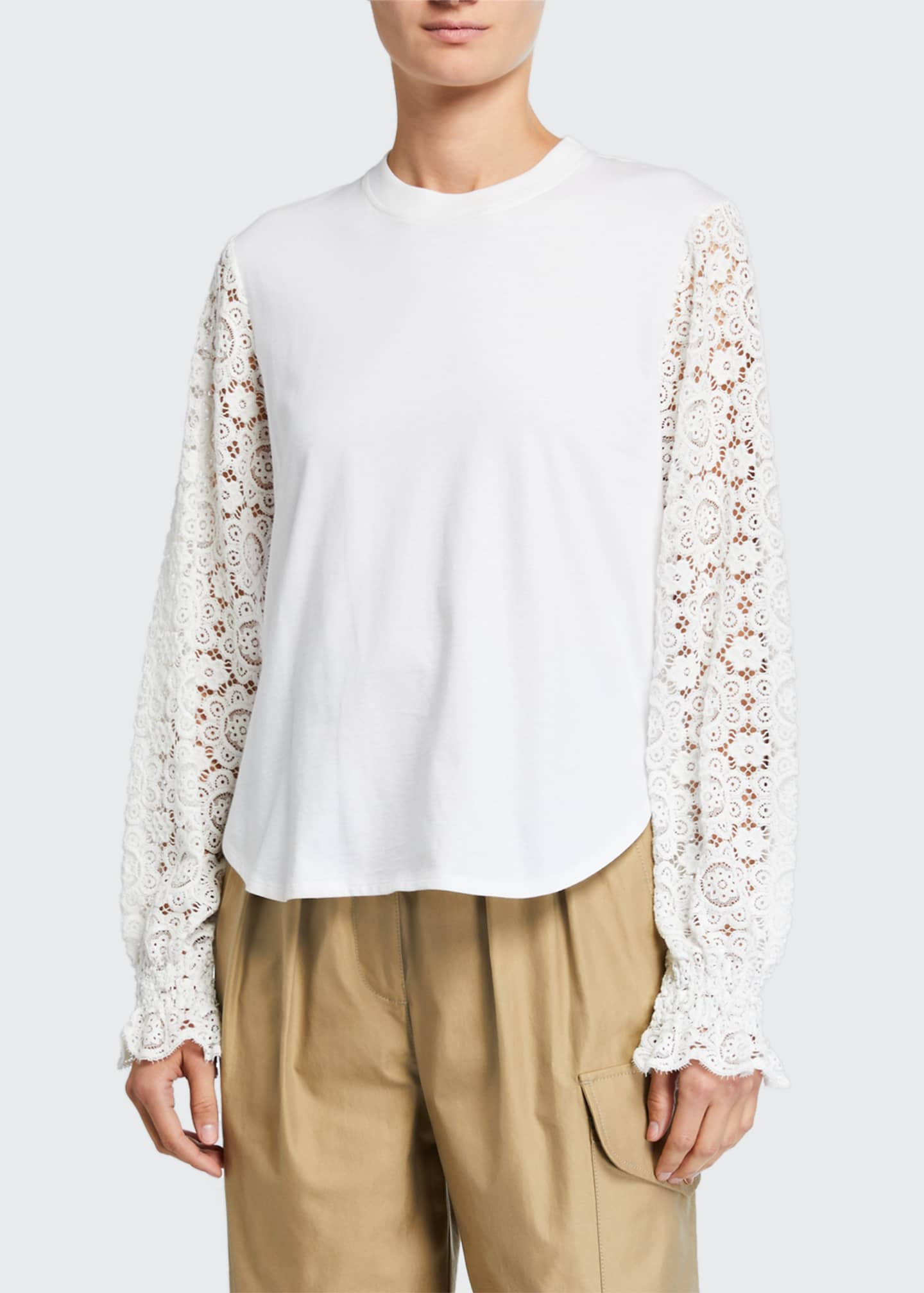Image 1 of 3: Embellished Lace Crewneck Tee