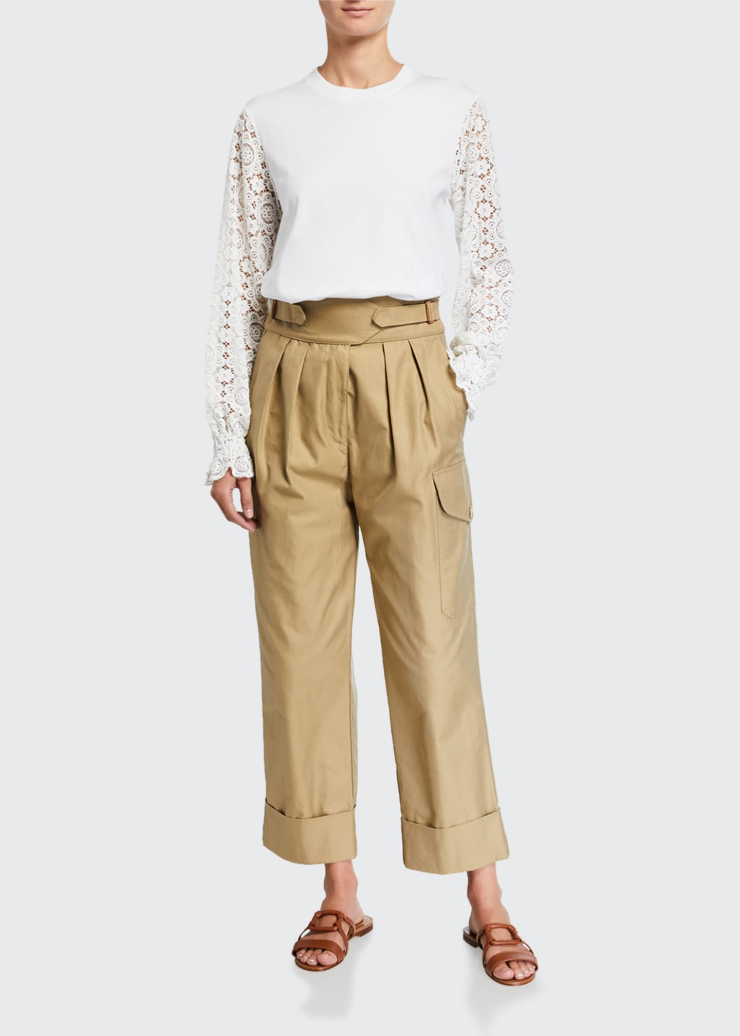 Image 1 of 3: High-Rise Pleated Cargo Pants