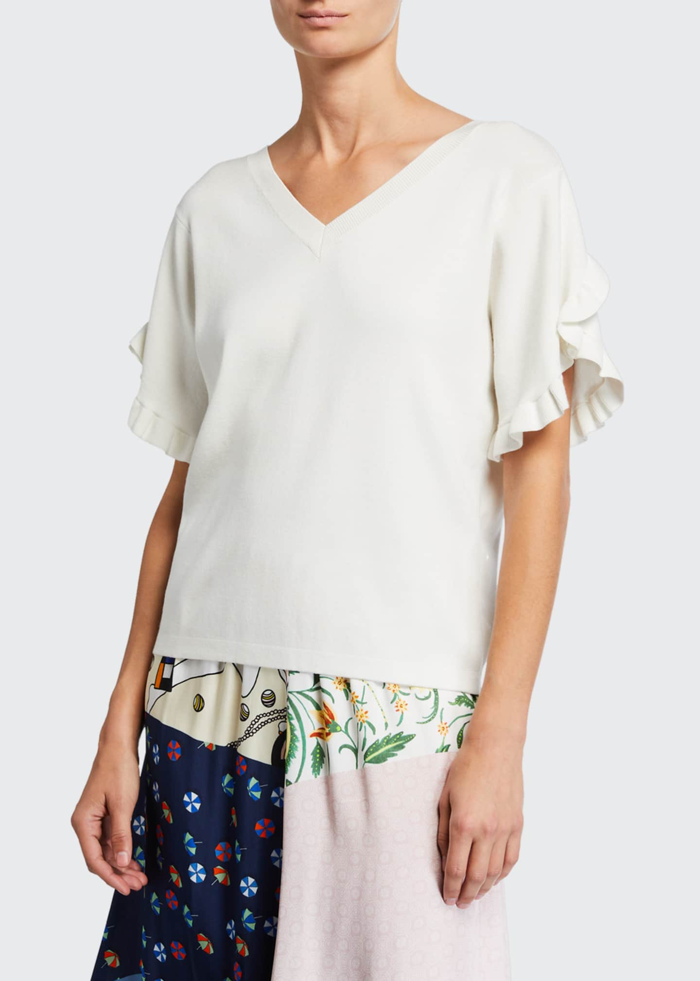 Image 1 of 2: Feminine Frilly Knit Top