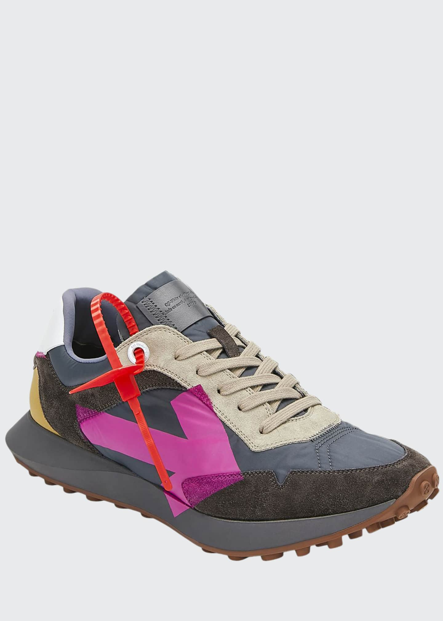 Off-White Men's Arrow Suede-Trim Trainer Sneakers