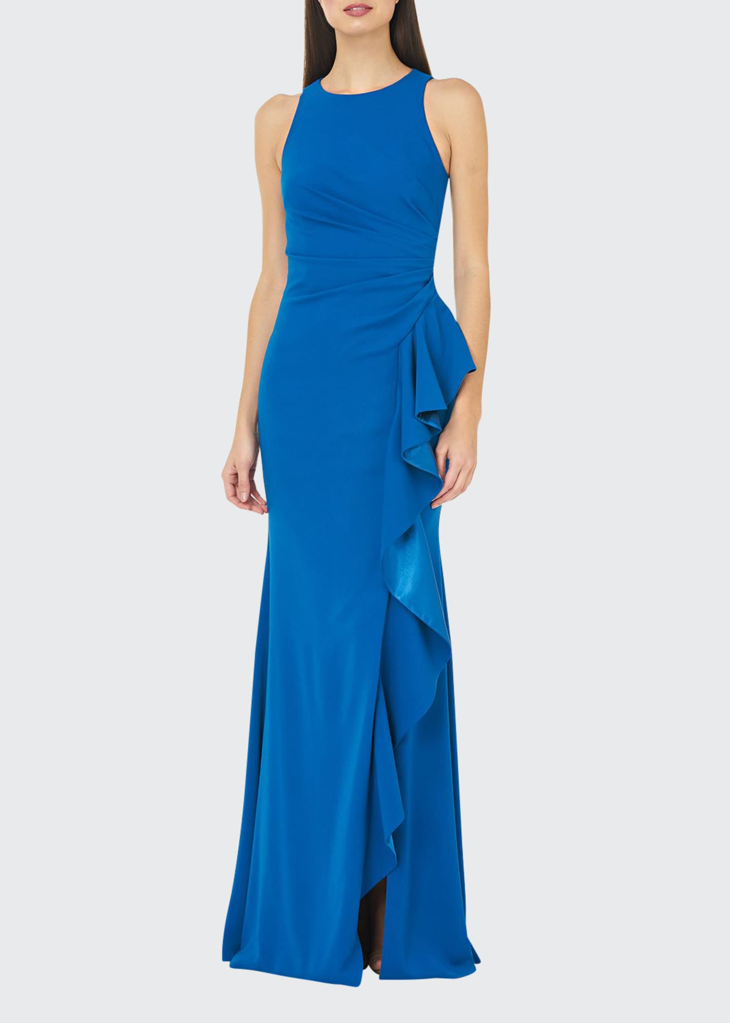 Carmen Marc Valvo Infusion Crepe Halter Gown with