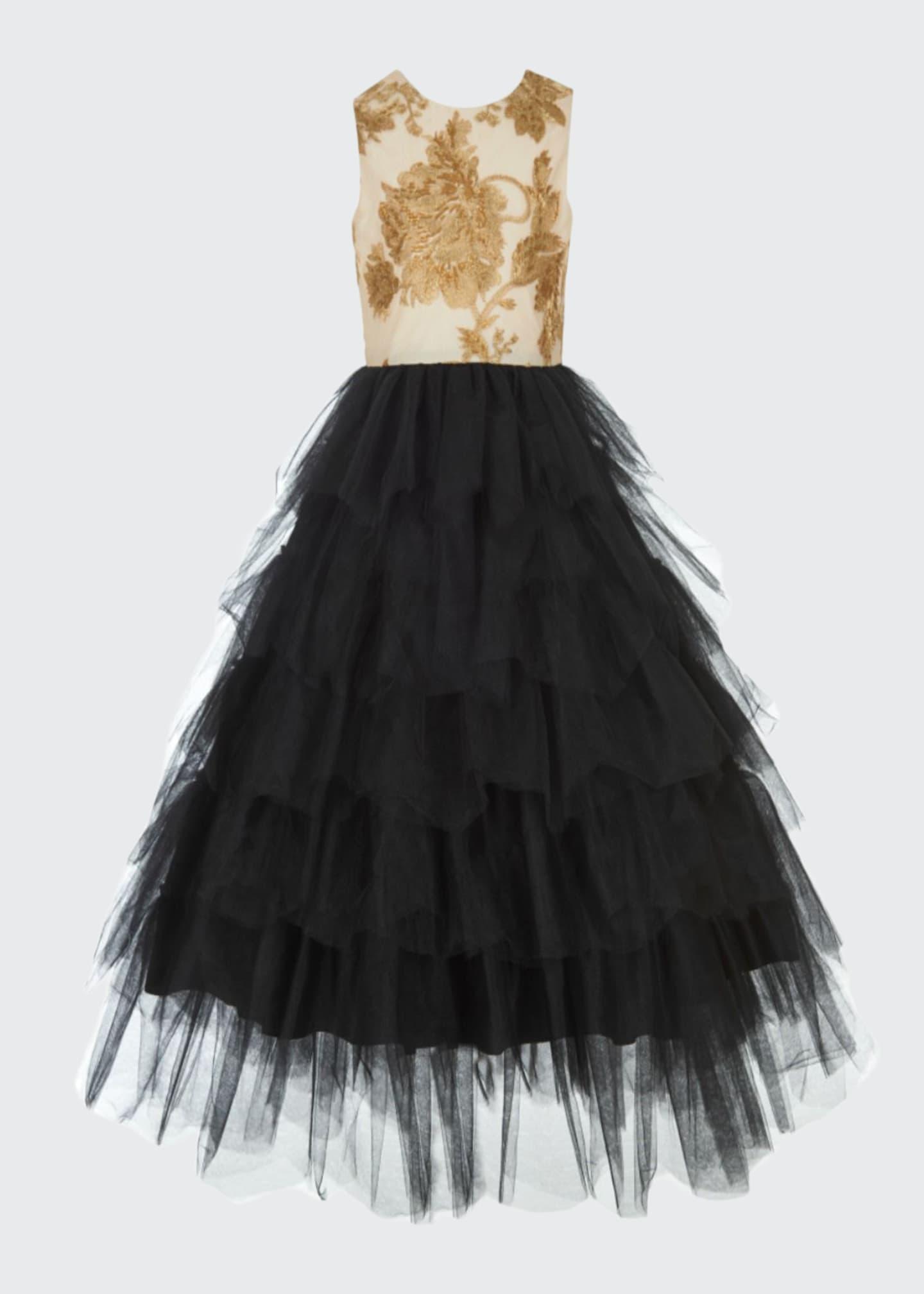Badgley Mischka Kid's Floral Glitter & Tulle Gown,