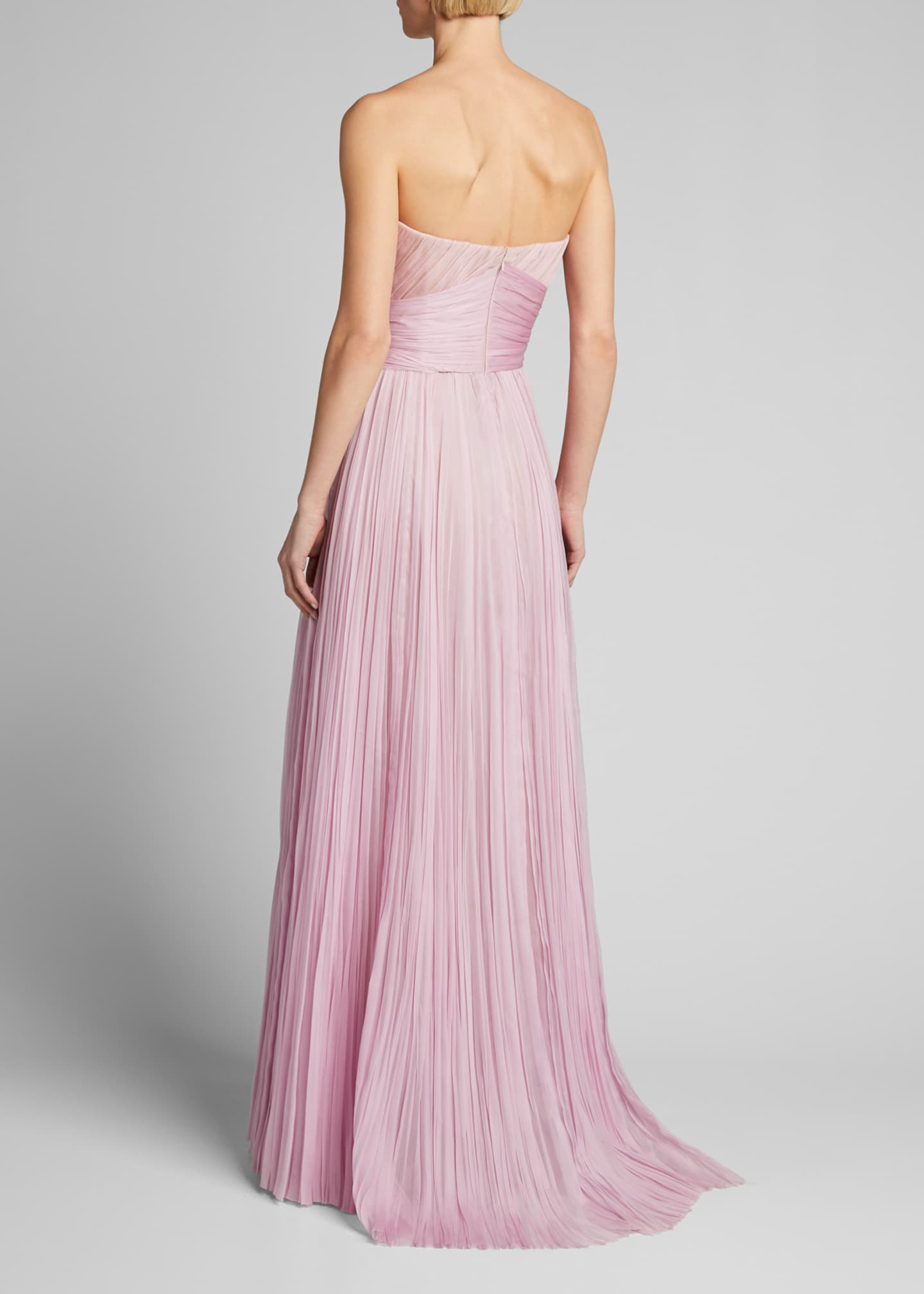 Image 2 of 5: Strapless Bowed Plisse Gown