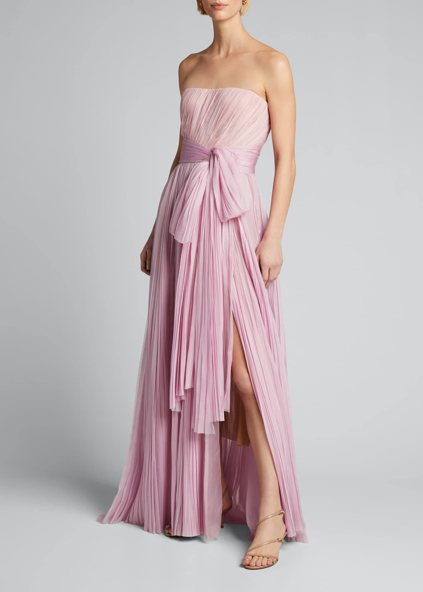 Image 3 of 5: Strapless Bowed Plisse Gown
