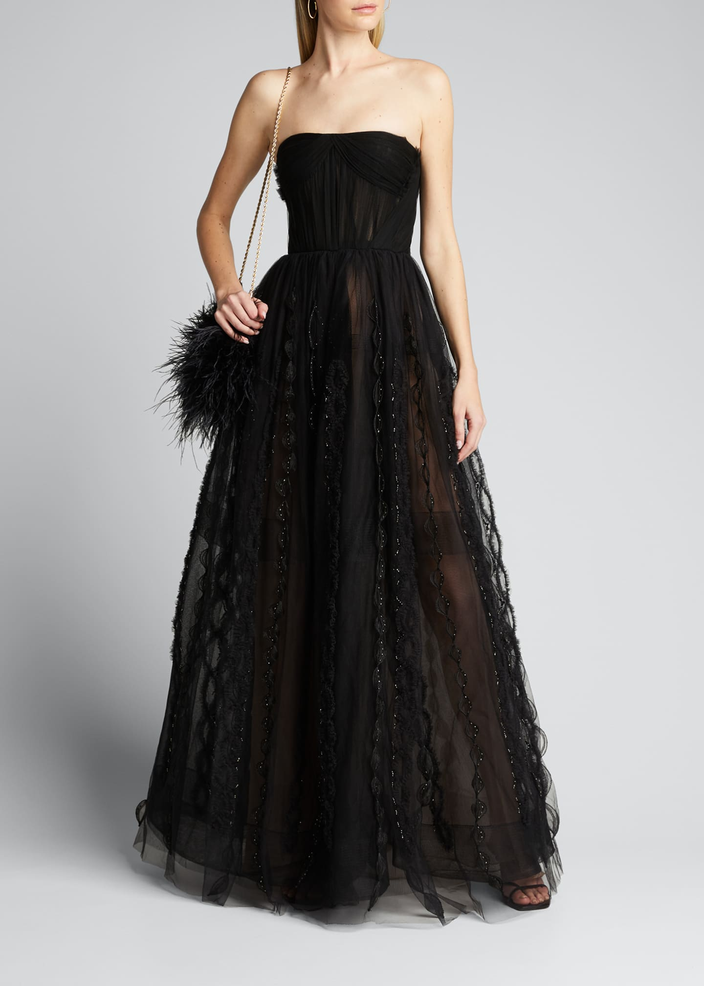 Image 1 of 5: Beaded-Tulle Strapless Gown w/ Bolero Jacket