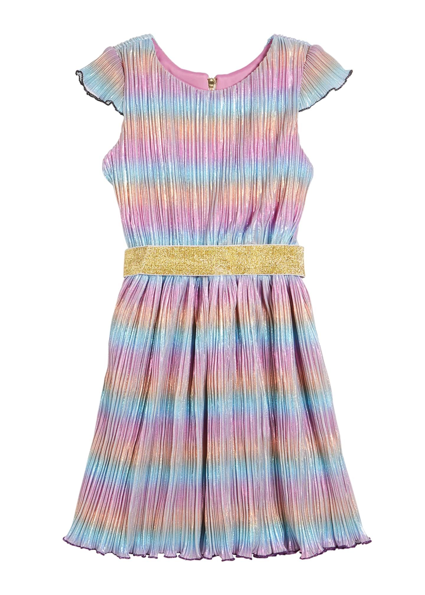 Zoe Girl's Lia Rainbow Metallic Micro Pleated Swing