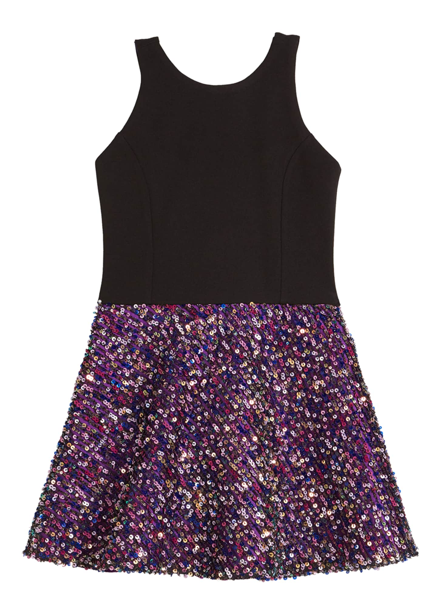 Zoe Girl's Lula Sequin Skater Dress w/ Knit